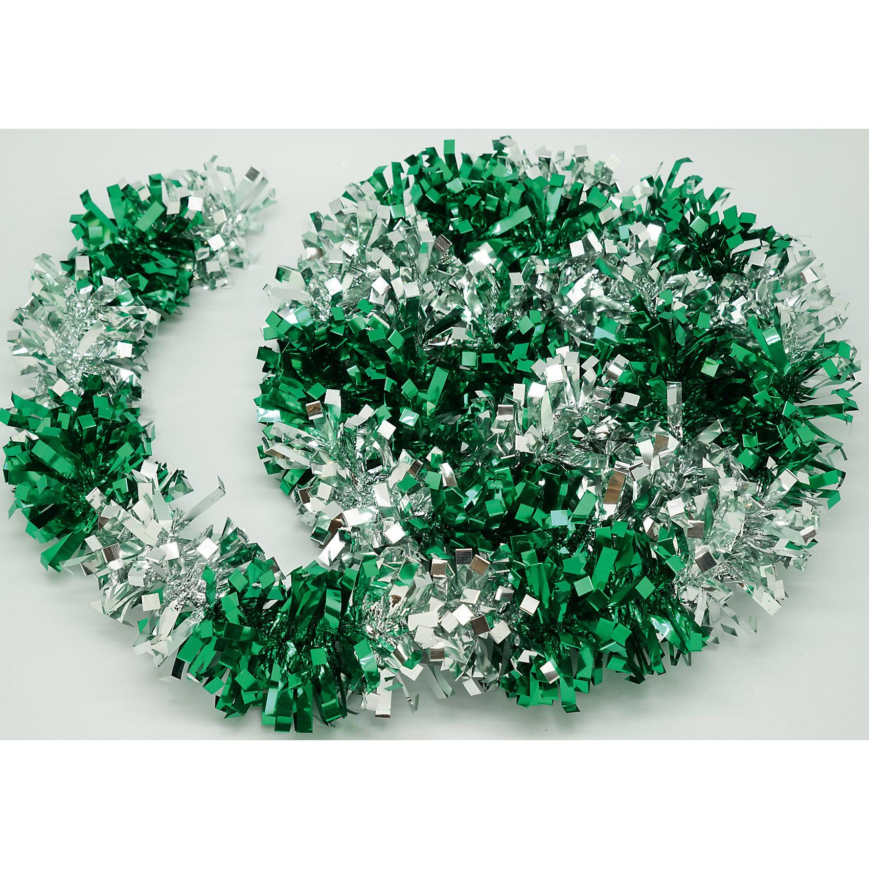Новогодняя мишура, зеленый с серебром 9х200Всё для праздника<br>Мишура новогодняя зеленый с серебром 9х200 арт.16500  Мишура идеально подойдет для оформления Вашего новогоднего праздника.<br>Из Мишуры очень просто воплотить Ваши дизайнерские идеи в  жизнь, благодаря тонкой проволке внутри, мишура легко принимает ту форму, которую Вам необходимо. Удачи в Ваших Новогодних задумках!<br><br>Ширина мм: 2000<br>Глубина мм: 90<br>Высота мм: 90<br>Вес г: 50<br>Возраст от месяцев: 72<br>Возраст до месяцев: 480<br>Пол: Унисекс<br>Возраст: Детский<br>SKU: 5051665