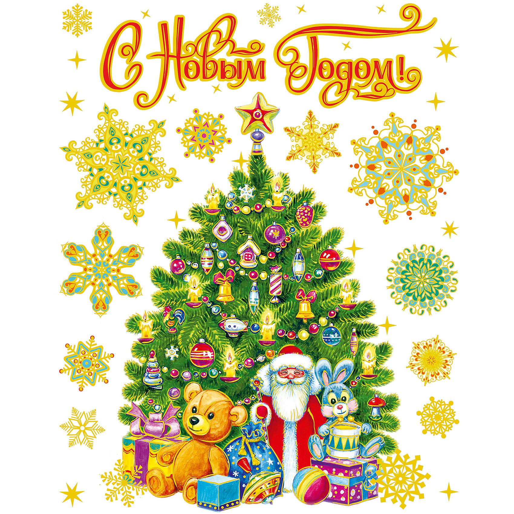 Новогодняя наклейка из ПВХ, 30х38см, Елка с подаркамиХарактеристики товара:<br><br>• цвет: разноцветный<br>• крепится посредством статического эффекта<br>• размер: 30х38 см<br>• комплектация: 1 лист<br>• материал: ПВХ<br>• для украшения интерьера <br>• страна производства: Китай<br><br>Украшать окна к Новому году всей семьей - традиция во многих домах. Новогодний антураж трудно представить без снежинок или наклеек на окнах! Эта красивая наклейка будет отлично смотреться в окружении любой цветовой гаммы, она качественно выполнена и нарядно смотрится благодаря глиттеру. Крепится на окна с помощью статического эффекта и не оставляет следов! С помощью такой наклейки можно оригинально декорировать квартиру к празднику.<br>Такие небольшие детали и создают праздник! От них во многом зависит хорошее новогоднее настроение. Изделие производится из качественных сертифицированных материалов, безопасных даже для самых маленьких.<br><br>Новогоднюю наклейку из ПВХ, 30х38см, Елка с подарками можно купить в нашем интернет-магазине.<br><br>Ширина мм: 420<br>Глубина мм: 300<br>Высота мм: 2<br>Вес г: 30<br>Возраст от месяцев: 72<br>Возраст до месяцев: 480<br>Пол: Унисекс<br>Возраст: Детский<br>SKU: 5051674