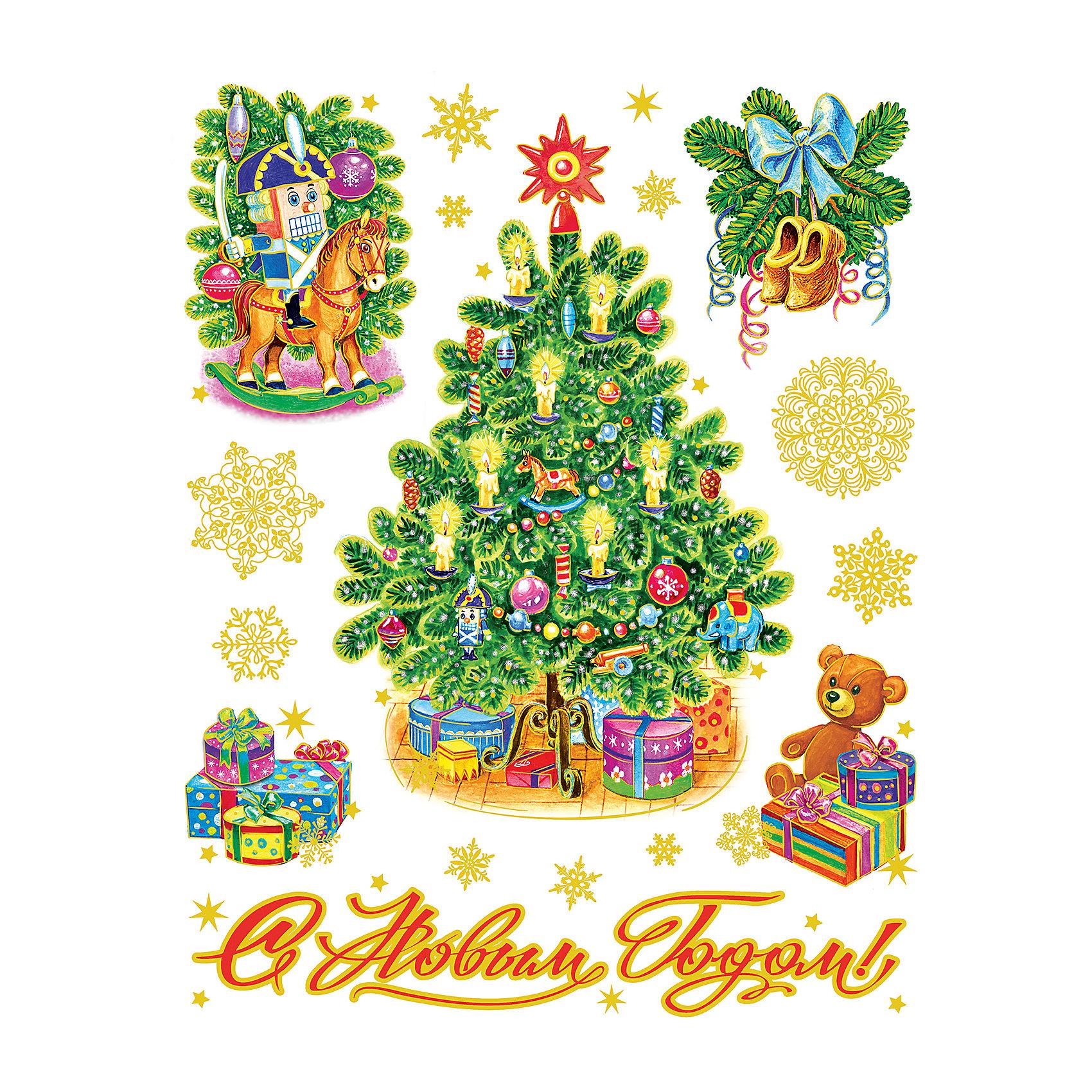 Новогодняя наклейка из ПВХ, 30х38см, Новогодние игрушкиВсё для праздника<br>Характеристики товара:<br><br>• крепится посредством статического эффекта<br>• размер: 30х38 см<br>• комплектация: 1 лист<br>• материал: ПВХ<br>• для украшения интерьера <br>• страна производства: Китай<br><br>Украшать окна к Новому году всей семьей - традиция во многих домах. Новогодний антураж трудно представить без снежинок или наклеек на окнах! Эта красивая наклейка будет отлично смотреться в окружении любой цветовой гаммы, она качественно выполнена и нарядно смотрится благодаря глиттеру. Крепится на окна с помощью статического эффекта и не оставляет следов! С помощью такой наклейки можно оригинально декорировать квартиру к празднику.<br>Такие небольшие детали и создают праздник! От них во многом зависит хорошее новогоднее настроение. Изделие производится из качественных сертифицированных материалов, безопасных даже для самых маленьких.<br><br>Новогоднюю наклейку из ПВХ, 30х38см, Новогодние игрушки можно купить в нашем интернет-магазине.<br><br>Ширина мм: 420<br>Глубина мм: 300<br>Высота мм: 2<br>Вес г: 30<br>Возраст от месяцев: 72<br>Возраст до месяцев: 480<br>Пол: Унисекс<br>Возраст: Детский<br>SKU: 5051678