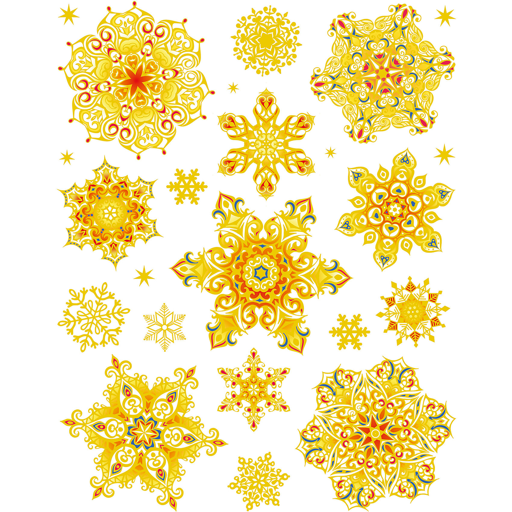 Новогодняя наклейка из ПВХ, 30х38см, Золотые снежинкиНаклейка новогодняя из ПВХ на статике 30х38см Золотые снежинки раскрашенные арт.16204  Новогоднее оконное украшение, декорировано глиттером; крепится к гладкой поверхности стекла посредством статического эффекта, легко снимается, не оставляет следов. Украшение с успехом применяется для художественного оформления витрин, праздничного оформления помещений. Оно украсит интерьер вашего дома к праздникам.<br><br>Ширина мм: 420<br>Глубина мм: 300<br>Высота мм: 2<br>Вес г: 30<br>Возраст от месяцев: 72<br>Возраст до месяцев: 480<br>Пол: Унисекс<br>Возраст: Детский<br>SKU: 5051681