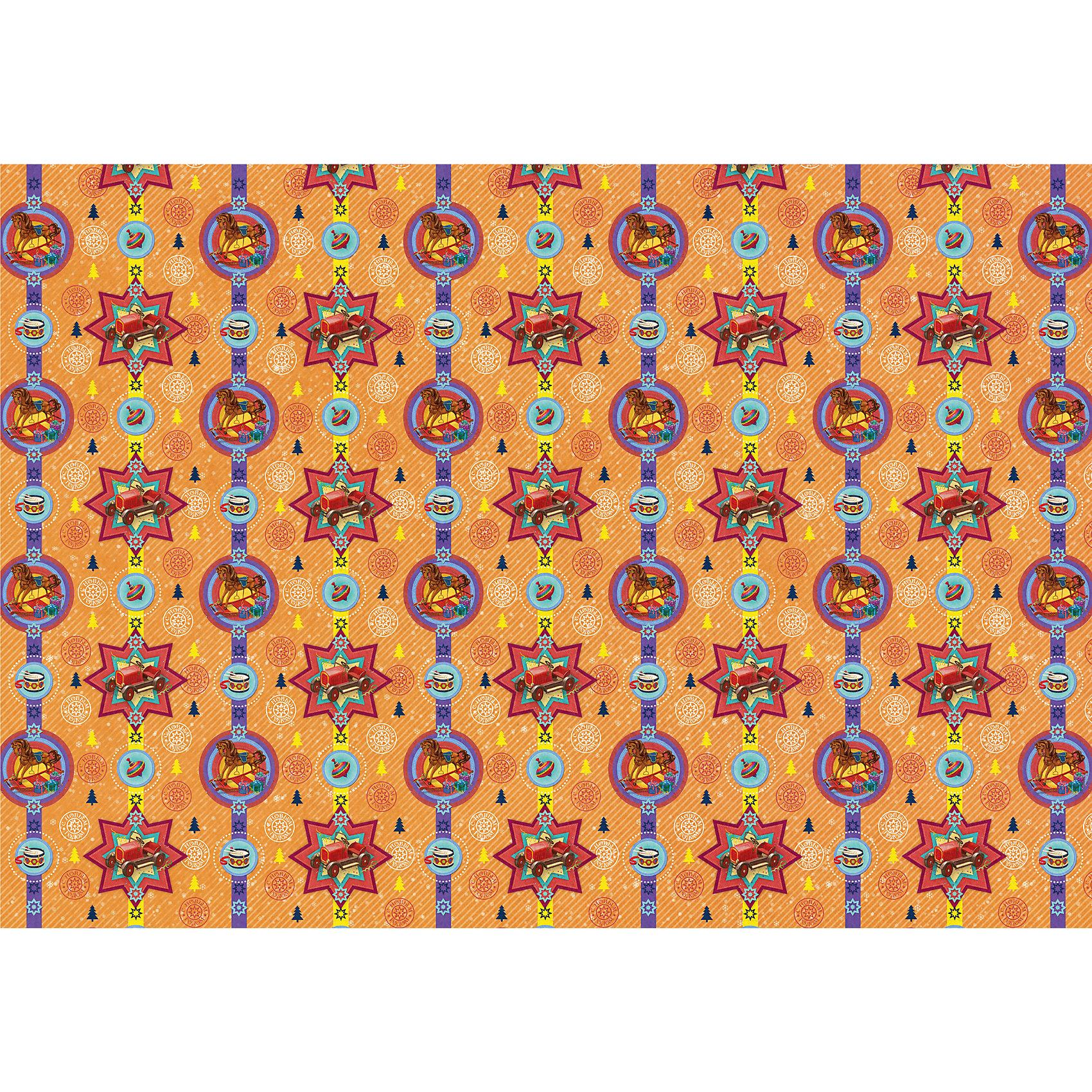 Яркий праздник Новогодняя упаковочная бумага в рулонах Деревянные игрушки, полноцветные 100x70см самоклеющаяся этикетка в рулонах