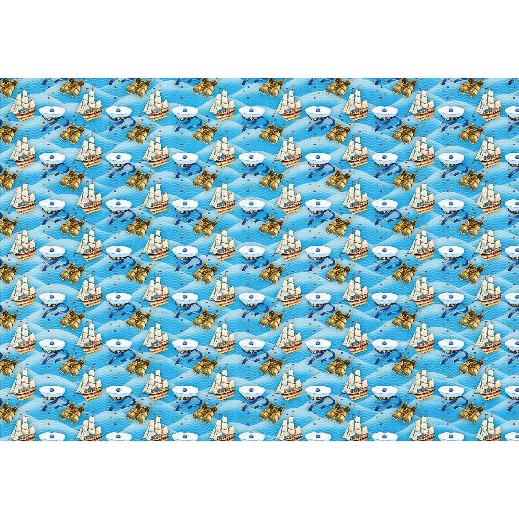 Яркий праздник Новогодняя упаковочная бумага в рулонах Морячок, полноцветная 100x70см самоклеющаяся этикетка в рулонах