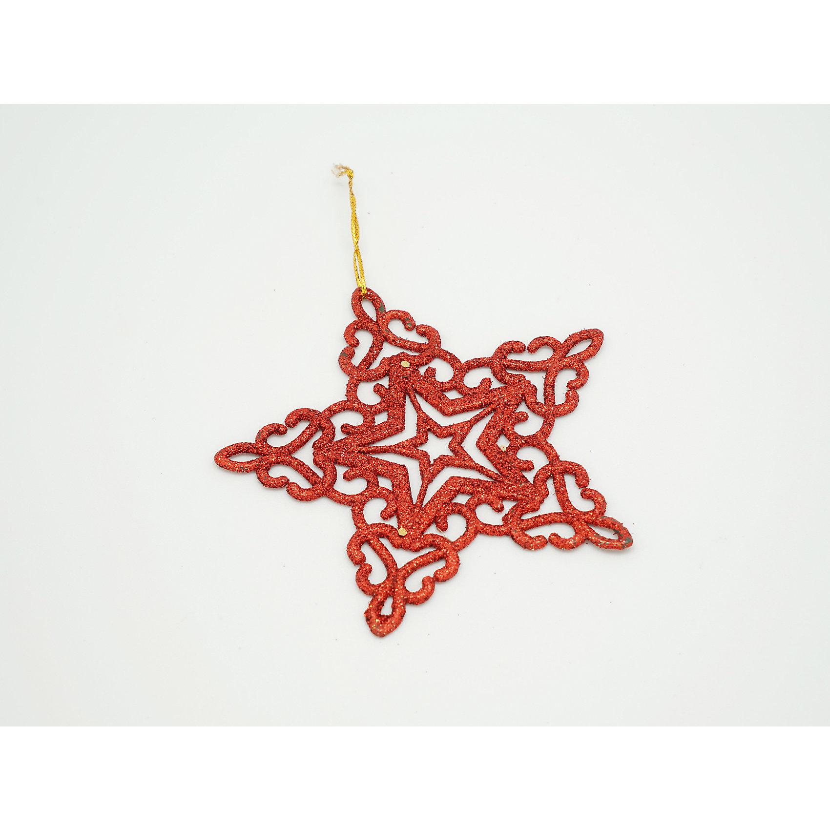 Декоративное подвесное украшение из пластика в глиттере Звезда глитер краснаяХарактеристики товара:<br><br>• цвет: красный<br>• материал: полистоун<br>• не бьётся<br>• в глиттере<br>• комплектация: 1 шт<br>• с подвесом<br>• для украшения интерьера или ёлки<br>• страна производства: Китай<br><br>Покупка новых украшений для интерьера или ёлки - верный признак приближающегося праздника. Новогодний антураж трудно представить без сияющих подвесных украшений! Это изделие будет хорошо смотреться в окружении любой цветовой гаммы, оно качественно выполнено и нарядно выглядит. С помощью него можно оригинально декорировать квартиру к празднику или украсить ёлку, причем участвовать могут даже малыши - украшение не разобьется.<br>Такие небольшие детали и создают праздник! От них во многом зависит хорошее новогоднее настроение. Изделие производится из качественных сертифицированных материалов, безопасных даже для самых маленьких.<br><br>Декоративное подвесное украшение из пластика в глиттере Звезда глитер красная можно купить в нашем интернет-магазине.<br><br>Ширина мм: 100<br>Глубина мм: 100<br>Высота мм: 5<br>Вес г: 100<br>Возраст от месяцев: 72<br>Возраст до месяцев: 480<br>Пол: Унисекс<br>Возраст: Детский<br>SKU: 5051722