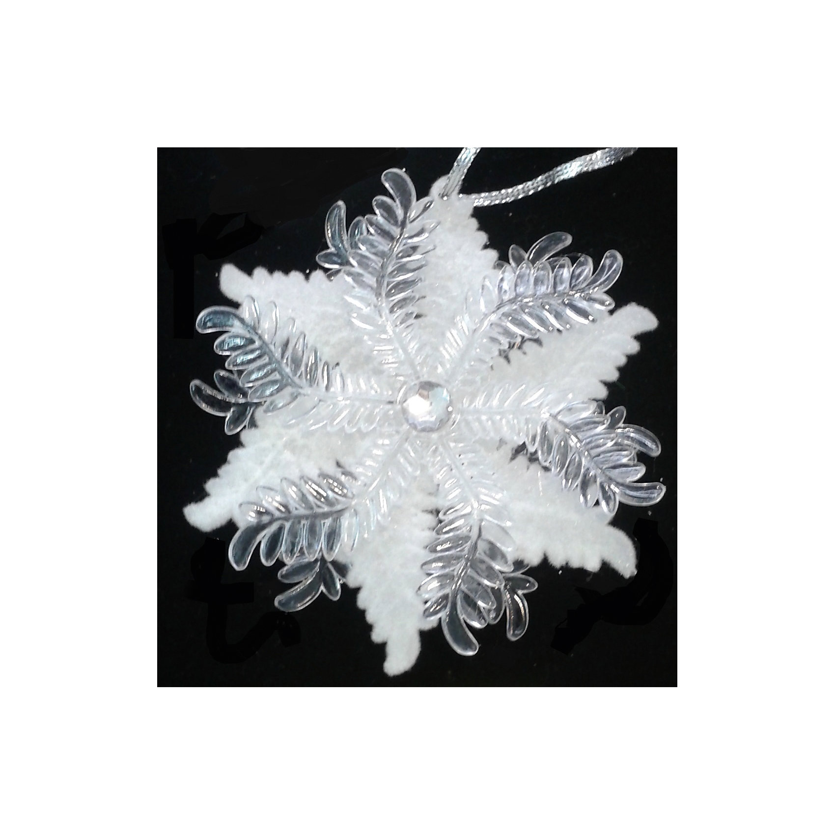 Подвесное украшение из пластика Снежинка комбинированная морозная и прозрачная (0,1Х0,1Х0,03м)Украшение из пластика (акрила) подвесное Снежинка комбинированная морозная и прозрачная арт.16184 Елочка в Новый год должна быть украшена безупречно. Поможет в этом чудесная подвеска. Игрушка изготовлена из полистоуна, поэтому никогда не разобьется, и доверить оформление праздничного деревца можно даже малышам. А уж сколько восторгов будет у детей по поводу этого украшения, и говорить не стоит!<br><br>Ширина мм: 100<br>Глубина мм: 100<br>Высота мм: 30<br>Вес г: 0<br>Возраст от месяцев: 72<br>Возраст до месяцев: 480<br>Пол: Унисекс<br>Возраст: Детский<br>SKU: 5051743