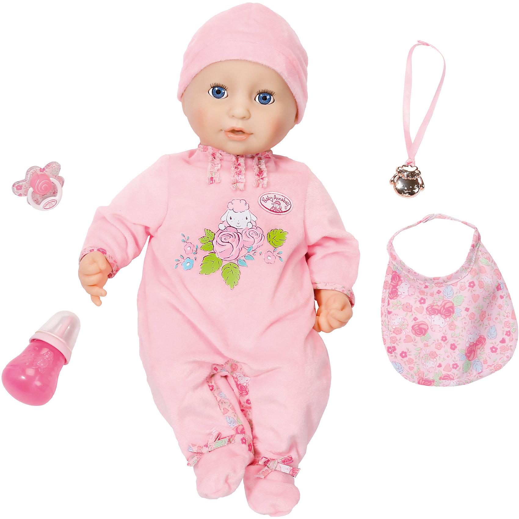 Многофункциональная кукла, 46 см, Baby AnnabellБренды кукол<br>Характеристики товара:<br><br>- цвет: разноцветный;<br>- материал: пластик, текстиль;<br>- особенности: пьет и сосет соску, двигая ртом, писает, плачет настоящими слезами, срыгивает и лепечет, засыпает;<br>- размер упаковки: 30х39х21 см;<br>- размер куклы: 46 см.<br><br>Такие красивые куклы не оставят ребенка равнодушным! Какая девочка откажется поиграть с куклой, которая выглядит и ведет себя почти как настоящий ребенок?! Игрушка отлично детализирована, очень качественно выполнена, поэтому она станет отличным подарком ребенку. Она столько всего умеет!<br>Изделие произведено из высококачественного материала, безопасного для детей.<br><br>Многофункциональную куклу, 46 см, Baby Annabell можно купить в нашем интернет-магазине.<br><br>Ширина мм: 300<br>Глубина мм: 390<br>Высота мм: 210<br>Вес г: 1645<br>Возраст от месяцев: 36<br>Возраст до месяцев: 2147483647<br>Пол: Женский<br>Возраст: Детский<br>SKU: 5051999