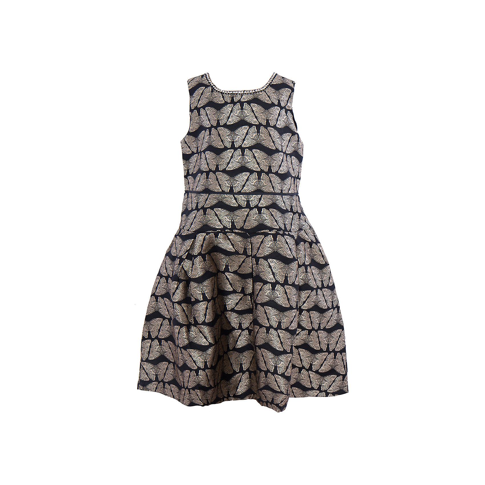 Нарядное платье для девочки LuminosoОдежда<br>Характеристики:<br><br>• Вид одежды: платье<br>• Предназначение: для праздника, для торжеств<br>• Сезон: круглый год<br>• Материал: верх – 70% полиэстер, 30% хлопок; подкладка – 100% хлопок<br>• Цвет: черный, золотой<br>• Силуэт: А стиль<br>• Длина платья: миди<br>• Вырез горловины: круглый, декорированный стразами<br>• Застежка: молния на спинке<br>• Особенности ухода: ручная стирка без применения отбеливающих средств, глажение при низкой температуре <br><br>Luminoso – это коллекция от известного производителя Sweet Berry, который сочетает в своей одежде функциональность, качество, стиль и следование современным мировым тенденциям в текстильной индустрии для подростков. <br>Стильное праздничное платье для девочки от знаменитого производителя детской одежды Luminoso выполнено из сочетания полиэстера с подкладкой из натурального хлопка. Платье классического А силуэта, отрезное по талии, юбка чуть присборена. У изделия круглая горловина, декорированная стразами. Дизайн ткани, из которого выполнено платье, представляет собой жаккардовый рисунок в форме золотистых бабочек. На спинке имеется застежка-молния до талии. Одежда от Luminoso – это залог успеха вашего ребенка на любом празднике иди торжестве!<br><br>Платье для девочки Luminoso можно купить в нашем интернет-магазине.<br><br>Ширина мм: 236<br>Глубина мм: 16<br>Высота мм: 184<br>Вес г: 177<br>Цвет: черный<br>Возраст от месяцев: 108<br>Возраст до месяцев: 120<br>Пол: Женский<br>Возраст: Детский<br>Размер: 140,134,164,158,152,146<br>SKU: 5052000
