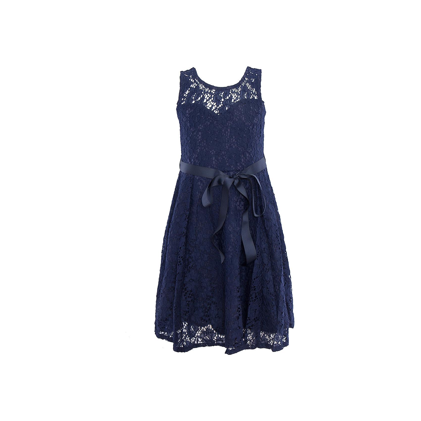 Нарядное платье для девочки LuminosoХарактеристики:<br><br>• Вид одежды: платье<br>• Предназначение: для праздника, торжеств<br>• Сезон: круглый год<br>• Материал: верх – 90% полиэстер, 10% эластан; подкладка – 95% хлопок, 5% эластан<br>• Цвет: темно-синий<br>• Силуэт: классический, прямой<br>• Длина: миди<br>• Вырез горловины: круглый<br>• Застежка: молния на спинке<br>• Особенности ухода: ручная стирка без применения отбеливающих средств, глажение при низкой температуре <br><br>Luminoso – это коллекция от известного производителя Sweet Berry, который сочетает в своей одежде функциональность, качество, стиль и следование современным мировым тенденциям в текстильной индустрии для подростков. <br>Кружевное платье для девочки от знаменитого производителя детской одежды Sweet Berry выполнено из полиэстера с хлопковым подкладка<br>ом. Изделие имеет классический прямой силуэт, полочку из кружева с фигурной подкладкой и застежку-молнию на спинке. Платье выполнено в темно-синем цвете, в комплекте предусмотрен репсовый пояс. Праздничное платье от Luminoso – это залог успеха вашего ребенка на любом торжестве!<br><br>Платье для девочки Luminoso можно купить в нашем интернет-магазине.<br><br>Ширина мм: 236<br>Глубина мм: 16<br>Высота мм: 184<br>Вес г: 177<br>Цвет: синий<br>Возраст от месяцев: 108<br>Возраст до месяцев: 120<br>Пол: Женский<br>Возраст: Детский<br>Размер: 140,134,164,158,152,146<br>SKU: 5052042
