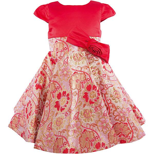 Нарядное платье для девочки Sweet BerryОдежда<br>Характеристики:<br><br>• Вид одежды: платье<br>• Предназначение: для праздника, торжеств<br>• Сезон: круглый год<br>• Материал: верх – 100% полиэстер; подкладка – 100% хлопок<br>• Цвет: красный, золотистый<br>• Силуэт: классический А-силуэт<br>• Длина платья: миди<br>• Вырез горловины: круглый<br>• Наличие банта с объемной розой<br>• Застежка: молния на спинке<br>• Особенности ухода: ручная стирка без применения отбеливающих средств, глажение при низкой температуре <br><br>Sweet Berry – это производитель, который сочетает в своей одежде функциональность, качество, стиль и следование современным мировым тенденциям в детской текстильной индустрии. <br>Комбинированное платье для девочки от знаменитого производителя детской одежды Sweet Berry выполнено из полиэстера с хлопковой подкладкой. Изделие имеет классический силуэт с отрезной талией и пышную юбку-солнце. Пышность и объем юбке придает подъюбник. Полочка выполнена из красного атласа, юбка из ткани в жаккардовый цветочный узор золотистого цвета. Талия декорирована бантом с объемной розой. Праздничное платье от Sweet Berry – это залог успеха вашего ребенка на любом торжестве!<br><br>Платье для девочки Sweet Berry можно купить в нашем интернет-магазине.<br>Ширина мм: 236; Глубина мм: 16; Высота мм: 184; Вес г: 177; Цвет: красный; Возраст от месяцев: 24; Возраст до месяцев: 36; Пол: Женский; Возраст: Детский; Размер: 98,128,104,110,116,122; SKU: 5052133;