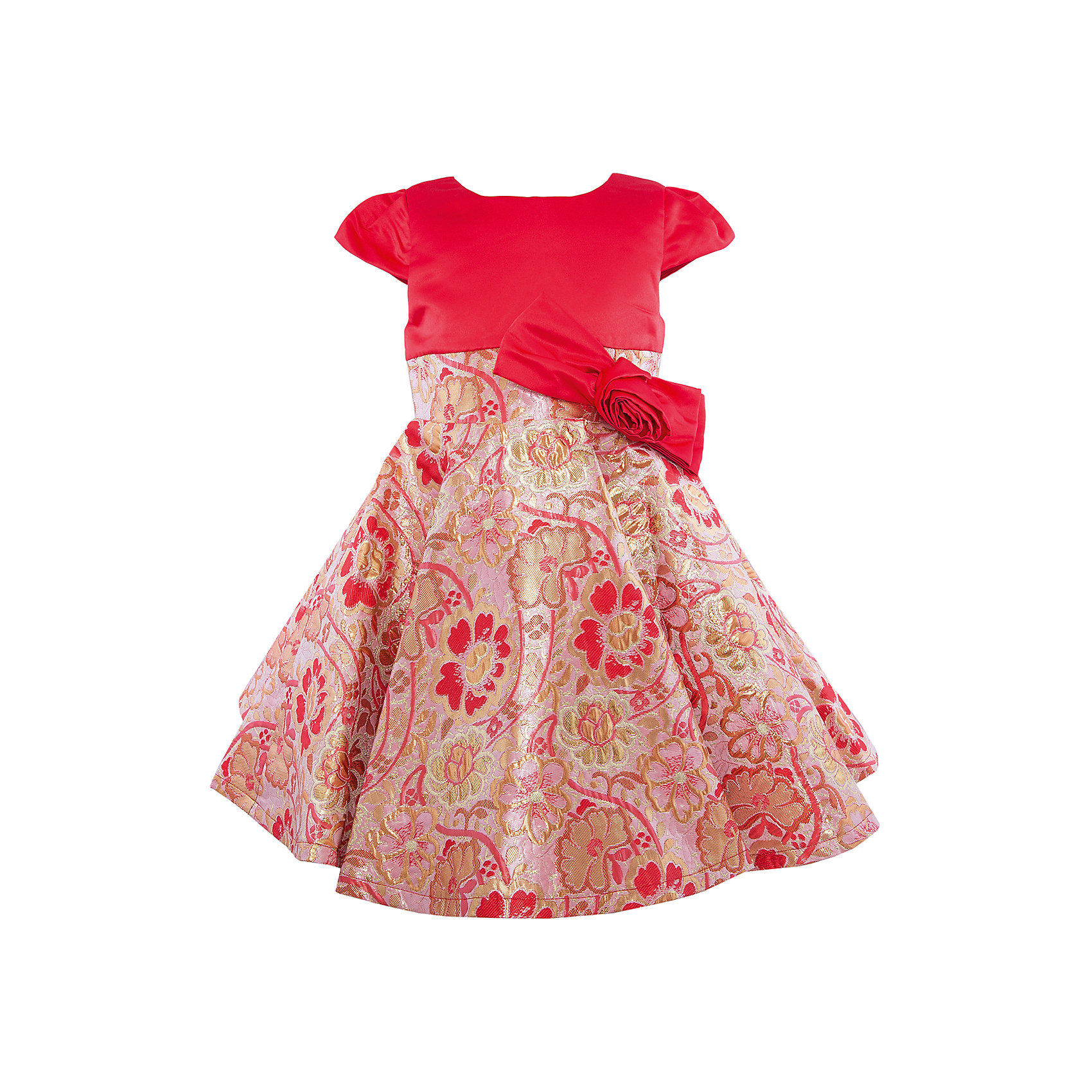 Нарядное платье для девочки Sweet BerryОдежда<br>Характеристики:<br><br>• Вид одежды: платье<br>• Предназначение: для праздника, торжеств<br>• Сезон: круглый год<br>• Материал: верх – 100% полиэстер; подкладка – 100% хлопок<br>• Цвет: красный, золотистый<br>• Силуэт: классический А-силуэт<br>• Длина платья: миди<br>• Вырез горловины: круглый<br>• Наличие банта с объемной розой<br>• Застежка: молния на спинке<br>• Особенности ухода: ручная стирка без применения отбеливающих средств, глажение при низкой температуре <br><br>Sweet Berry – это производитель, который сочетает в своей одежде функциональность, качество, стиль и следование современным мировым тенденциям в детской текстильной индустрии. <br>Комбинированное платье для девочки от знаменитого производителя детской одежды Sweet Berry выполнено из полиэстера с хлопковой подкладкой. Изделие имеет классический силуэт с отрезной талией и пышную юбку-солнце. Пышность и объем юбке придает подъюбник. Полочка выполнена из красного атласа, юбка из ткани в жаккардовый цветочный узор золотистого цвета. Талия декорирована бантом с объемной розой. Праздничное платье от Sweet Berry – это залог успеха вашего ребенка на любом торжестве!<br><br>Платье для девочки Sweet Berry можно купить в нашем интернет-магазине.<br><br>Ширина мм: 236<br>Глубина мм: 16<br>Высота мм: 184<br>Вес г: 177<br>Цвет: красный<br>Возраст от месяцев: 36<br>Возраст до месяцев: 48<br>Пол: Женский<br>Возраст: Детский<br>Размер: 104,98,110,116,122,128<br>SKU: 5052133