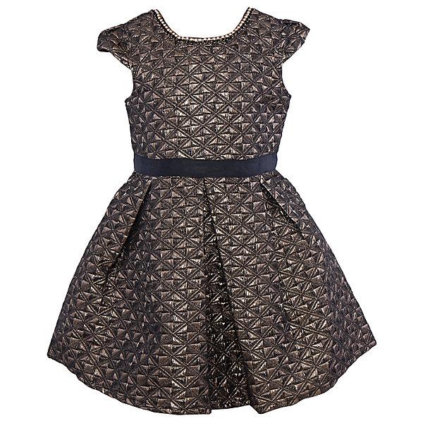 Нарядное платье для девочки Sweet BerryОдежда<br>Характеристики:<br><br>• Вид одежды: платье<br>• Предназначение: для праздника, торжеств<br>• Сезон: круглый год<br>• Материал: верх – 100% полиэстер; подкладка – 100% хлопок<br>• Цвет: золотистый, черный<br>• Силуэт: классический А-силуэт<br>• Длина платья: миди<br>• Длина рукава: короткий<br>• Вырез горловины: круглый, оформлен декоративной ожерельем из страз<br>• Наличие репсового пояса<br>• Застежка: молния на спинке<br>• Особенности ухода: ручная стирка без применения отбеливающих средств, глажение при низкой температуре <br><br>Sweet Berry – это производитель, который сочетает в своей одежде функциональность, качество, стиль и следование современным мировым тенденциям в детской текстильной индустрии. <br>Стильное платье для девочки от знаменитого производителя детской одежды Sweet Berry выполнено из полиэстера с хлопковой подкладкой. Изделие имеет классический силуэт с отрезной талией и многослойную юбку. Полочка и верхняя юбка выполнены из ткани с жаккардовым узором золотистого цвета. Горловина оформлена ожерельем из страз. У платья короткие рукава, пышность которым придает складка у основания. В комплекте имеется неширокий репсовый пояс. Праздничное платье от Sweet Berry – это залог успеха вашего ребенка на любом торжестве!<br><br>Платье для девочки Sweet Berry можно купить в нашем интернет-магазине.<br>Ширина мм: 236; Глубина мм: 16; Высота мм: 184; Вес г: 177; Цвет: черный; Возраст от месяцев: 48; Возраст до месяцев: 60; Пол: Женский; Возраст: Детский; Размер: 110,98,104,128,122,116; SKU: 5052203;