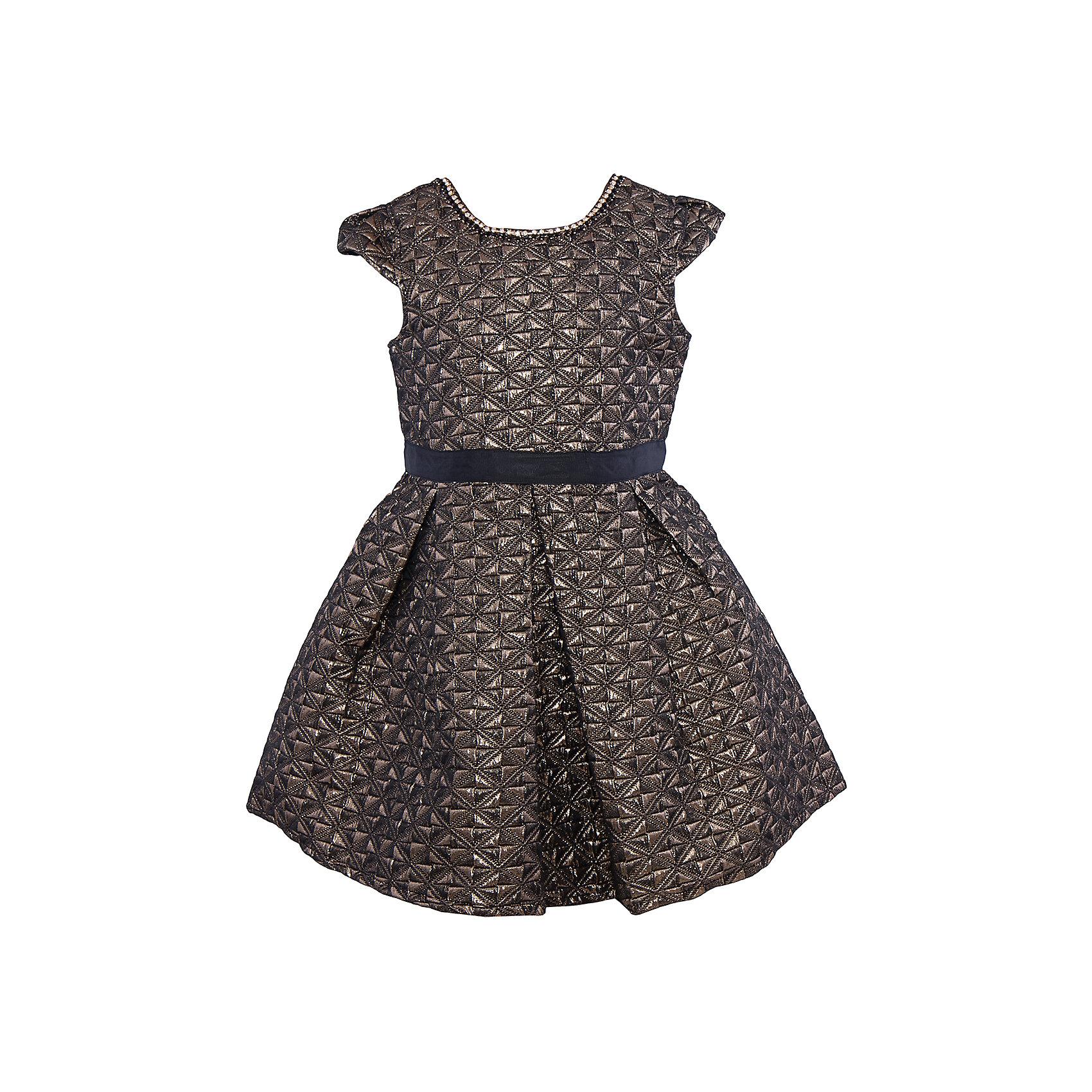 Нарядное платье для девочки Sweet BerryОдежда<br>Характеристики:<br><br>• Вид одежды: платье<br>• Предназначение: для праздника, торжеств<br>• Сезон: круглый год<br>• Материал: верх – 100% полиэстер; подкладка – 100% хлопок<br>• Цвет: золотистый, черный<br>• Силуэт: классический А-силуэт<br>• Длина платья: миди<br>• Длина рукава: короткий<br>• Вырез горловины: круглый, оформлен декоративной ожерельем из страз<br>• Наличие репсового пояса<br>• Застежка: молния на спинке<br>• Особенности ухода: ручная стирка без применения отбеливающих средств, глажение при низкой температуре <br><br>Sweet Berry – это производитель, который сочетает в своей одежде функциональность, качество, стиль и следование современным мировым тенденциям в детской текстильной индустрии. <br>Стильное платье для девочки от знаменитого производителя детской одежды Sweet Berry выполнено из полиэстера с хлопковой подкладкой. Изделие имеет классический силуэт с отрезной талией и многослойную юбку. Полочка и верхняя юбка выполнены из ткани с жаккардовым узором золотистого цвета. Горловина оформлена ожерельем из страз. У платья короткие рукава, пышность которым придает складка у основания. В комплекте имеется неширокий репсовый пояс. Праздничное платье от Sweet Berry – это залог успеха вашего ребенка на любом торжестве!<br><br>Платье для девочки Sweet Berry можно купить в нашем интернет-магазине.<br><br>Ширина мм: 236<br>Глубина мм: 16<br>Высота мм: 184<br>Вес г: 177<br>Цвет: черный<br>Возраст от месяцев: 36<br>Возраст до месяцев: 48<br>Пол: Женский<br>Возраст: Детский<br>Размер: 104,98,110,116,122,128<br>SKU: 5052203