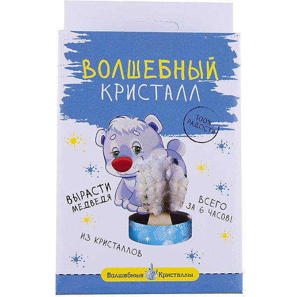 Волшебные кристаллы Белый мишка БумбарамВыращивание кристаллов<br>Волшебные кристаллы Мишка белый, Бумбарам<br><br>Характеристики:<br><br>• вы можете вырастить льдину для мишки не выходя из дома<br>• набор прост в использовании<br>• безопасен для детей<br>• готовая поделка уже через 6 часов<br>• размер упаковки: 16,5х10х3 см<br>• вес: 50 грамм<br>• в комплекте: основа, подставка из пластика, специальный раствор, инструкция<br>• материалы: реактив, бумага, пластик, картон<br>• готовую поделку рекомендуется покрыть лаком<br><br>Создать белого медведя на льдине очень просто. Установите медвежонка и основу на подставку, добавьте специальный раствор - через 6 часов мишка со снегом из кристаллов готов. Такой вид творчество хорошо развивает усидчивость и внимательность. Готовой поделкой ребенок с радостью украсит свою комнату или оставит ее в подарок друзьям.<br><br>Волшебные кристаллы Мишка белый, Бумбарам вы можете купить в нашем интернет-магазине.<br>Ширина мм: 170; Глубина мм: 100; Высота мм: 30; Вес г: 50; Возраст от месяцев: 72; Возраст до месяцев: 144; Пол: Унисекс; Возраст: Детский; SKU: 5053929;