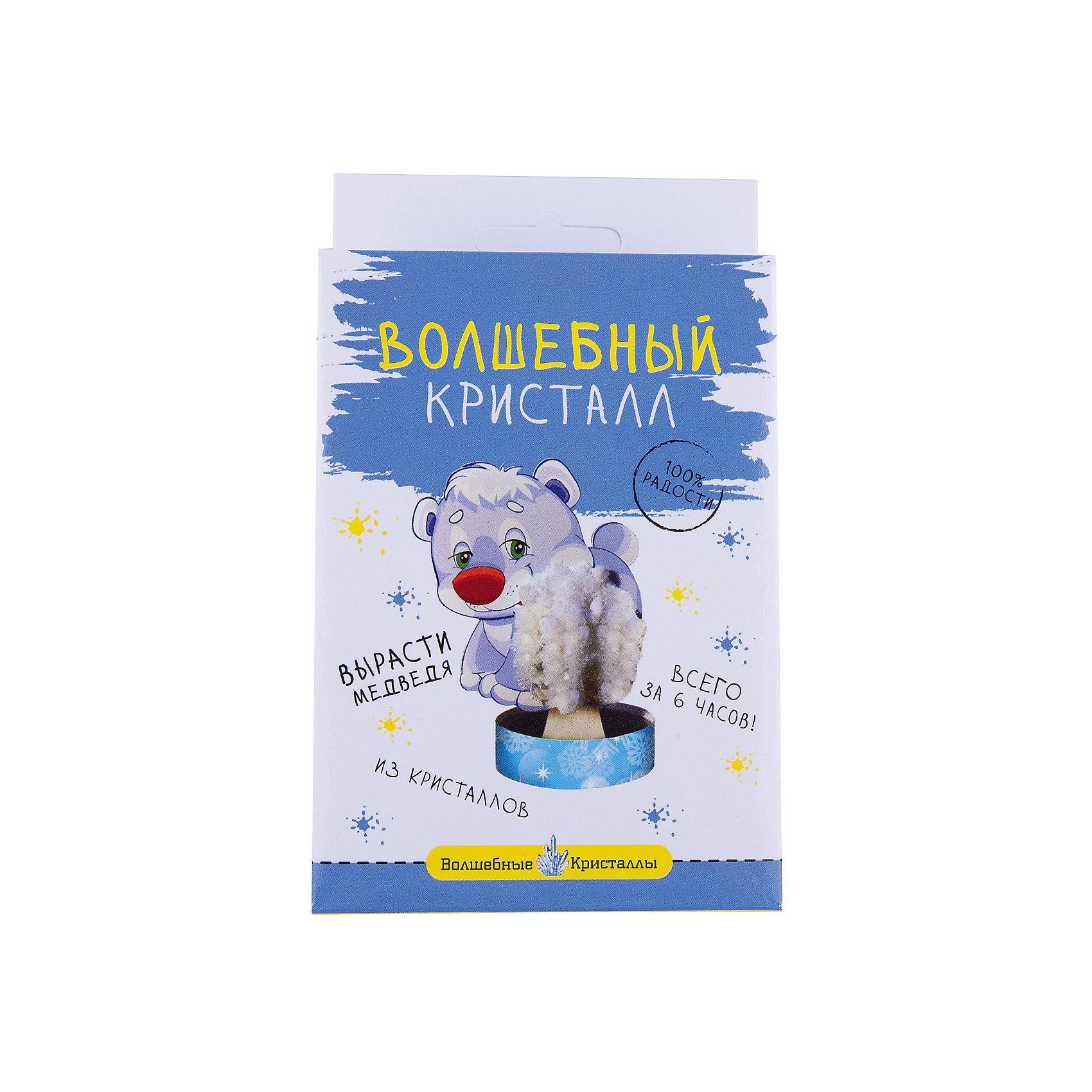 Волшебные кристаллы Белый мишка БумбарамКристаллы<br>Волшебные кристаллы Мишка белый, Бумбарам<br><br>Характеристики:<br><br>• вы можете вырастить льдину для мишки не выходя из дома<br>• набор прост в использовании<br>• безопасен для детей<br>• готовая поделка уже через 6 часов<br>• размер упаковки: 16,5х10х3 см<br>• вес: 50 грамм<br>• в комплекте: основа, подставка из пластика, специальный раствор, инструкция<br>• материалы: реактив, бумага, пластик, картон<br>• готовую поделку рекомендуется покрыть лаком<br><br>Создать белого медведя на льдине очень просто. Установите медвежонка и основу на подставку, добавьте специальный раствор - через 6 часов мишка со снегом из кристаллов готов. Такой вид творчество хорошо развивает усидчивость и внимательность. Готовой поделкой ребенок с радостью украсит свою комнату или оставит ее в подарок друзьям.<br><br>Волшебные кристаллы Мишка белый, Бумбарам вы можете купить в нашем интернет-магазине.<br><br>Ширина мм: 170<br>Глубина мм: 100<br>Высота мм: 30<br>Вес г: 50<br>Возраст от месяцев: 72<br>Возраст до месяцев: 144<br>Пол: Унисекс<br>Возраст: Детский<br>SKU: 5053929
