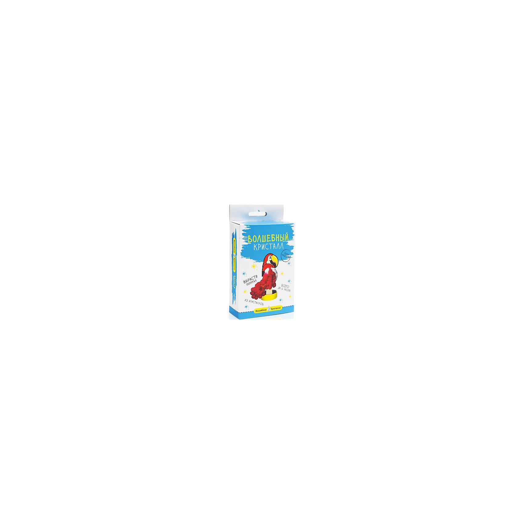 Волшебные кристаллы Попугай БумбарамКристаллы<br>Волшебные кристаллы Попугай, Бумбарам.<br><br>Характеристики:<br><br>• вы можете вырастить пушистого попугая не выходя из дома<br>• набор прост в использовании<br>• безопасен для детей<br>• пошаговая инструкция<br>• готовая поделка уже через 6 часов<br>• размер упаковки: 16,5х10х3 см<br>• вес: 50 грамм<br>• в комплекте: основа, подставка из пластика, специальный раствор, инструкция<br>• материалы: реактив, бумага, пластик, картон<br>• готовую поделку рекомендуется покрыть лаком<br><br>Если ваш ребенок любит птиц, то волшебные кристаллы Попугай обязательно порадуют его. В процессе творчества ребенку предстоит установить картонную основу на подставку и налить специальный раствор в углубление. Через 6 часов у попугая появятся красочные объемные перья из кристаллов. Этот вид творчества поможет развить усидчивость и внимательность. Фигурку попугая можно оставить в подарок или украсить ею свою комнату.<br><br>Волшебные кристаллы Попугай, Бумбарам вы можете купить в нашем интернет-магазине.<br><br>Ширина мм: 170<br>Глубина мм: 100<br>Высота мм: 30<br>Вес г: 50<br>Возраст от месяцев: 72<br>Возраст до месяцев: 144<br>Пол: Унисекс<br>Возраст: Детский<br>SKU: 5053931