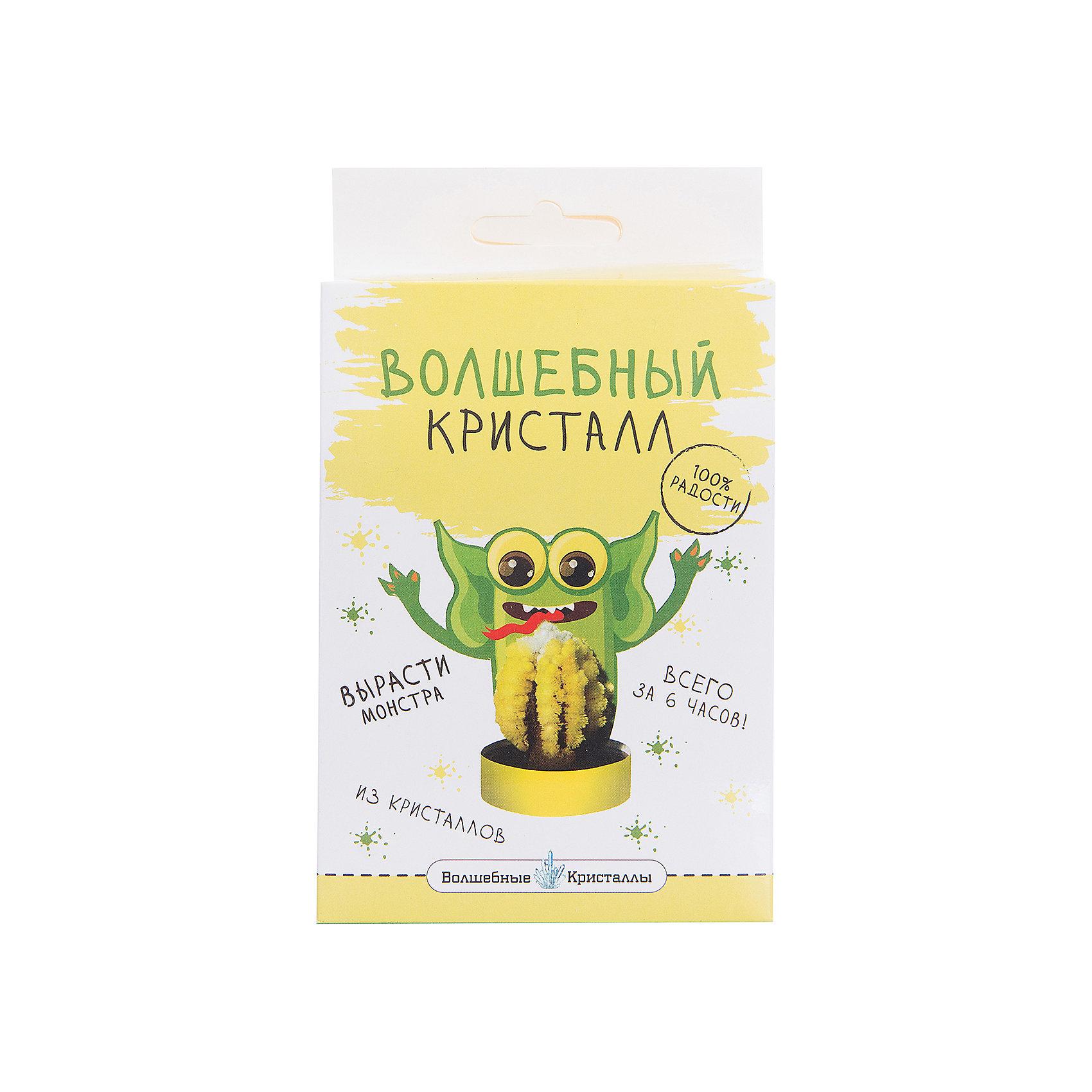 Волшебные кристаллы Зеленый монстрик БумбарамКристаллы<br>Волшебные кристаллы Монстрик зеленый, Бумбарам<br><br>Характеристики:<br><br>• вы можете вырастить забавного монстра не выходя из дома.<br>• набор прост в использовании<br>• безопасен для детей<br>• пошаговая инструкция<br>• готовая поделка уже через 6 часов<br>• размер упаковки: 16,5х10х3 см<br>• вес: 50 грамм<br>• в комплекте: основа, подставка из пластика, специальный раствор, инструкция<br>• материалы: реактив, бумага, пластик, картон<br>• готовую поделку рекомендуется покрыть лаком<br><br>В наборе вы найдете картонную фигурку забавного монстра. Чего же ему не хватает? Конечно же, желтых кристаллов, которые отлично дополнят его! Установите картонную основу на подставку, добавьте специальный раствор и подождите 6 часов - веселый монстрик готов! Все материалы безопасны для ребенка. Выращивание кристаллов развивает усидчивость и внимательность. Набор для выращивания кристаллов станет отличным подарком юному химику!<br><br>Волшебные кристаллы Монстрик зеленый, Бумбарам вы можете купить в нашем интернет-магазине.<br><br>Ширина мм: 170<br>Глубина мм: 100<br>Высота мм: 30<br>Вес г: 50<br>Возраст от месяцев: 72<br>Возраст до месяцев: 144<br>Пол: Унисекс<br>Возраст: Детский<br>SKU: 5053932