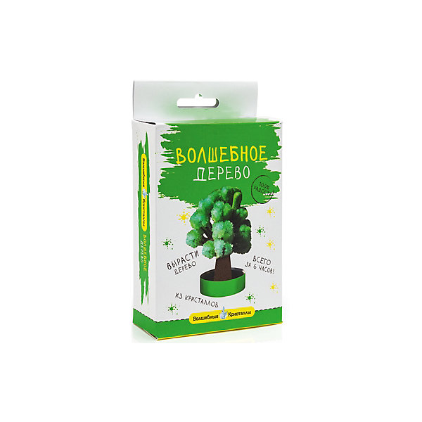 Волшебные кристаллы Зеленое дерево БумбарамВыращивание кристаллов<br>Волшебные кристаллы Дерево зеленое, Бумбарам<br><br>Характеристики:<br>• вы можете вырастить красивое дерево<br>• безопасен для детей<br>• пошаговая инструкция<br>• готовая поделка уже через 6 часов<br>• размер упаковки: 16,5х10х3 см<br>• вес: 50 грамм<br>• в комплекте: основа, подставка из пластика, специальный раствор, инструкция<br>• материалы: реактив, бумага, пластик, картон<br>• готовую поделку рекомендуется покрыть лаком<br><br>Волшебные кристаллы Дерево зеленое позволит ребенку создать объемное дерево из кристаллов. Материалы безопасны, а процесс творчества очень прост и доступен каждому. Для этого потребуется закрепить картонную основу на подставке и добавить раствор - через 6 часов объемное дерево готово. Этот вид творчества развивает усидчивость и внимательность. Очаровательное дерево украсит детскую комнату или станет приятным подарком близкому человеку.<br><br>Волшебные кристаллы Дерево зеленое, Бумбарам можно купить в нашем интернет-магазине.<br>Ширина мм: 170; Глубина мм: 100; Высота мм: 30; Вес г: 50; Возраст от месяцев: 72; Возраст до месяцев: 144; Пол: Унисекс; Возраст: Детский; SKU: 5053934;