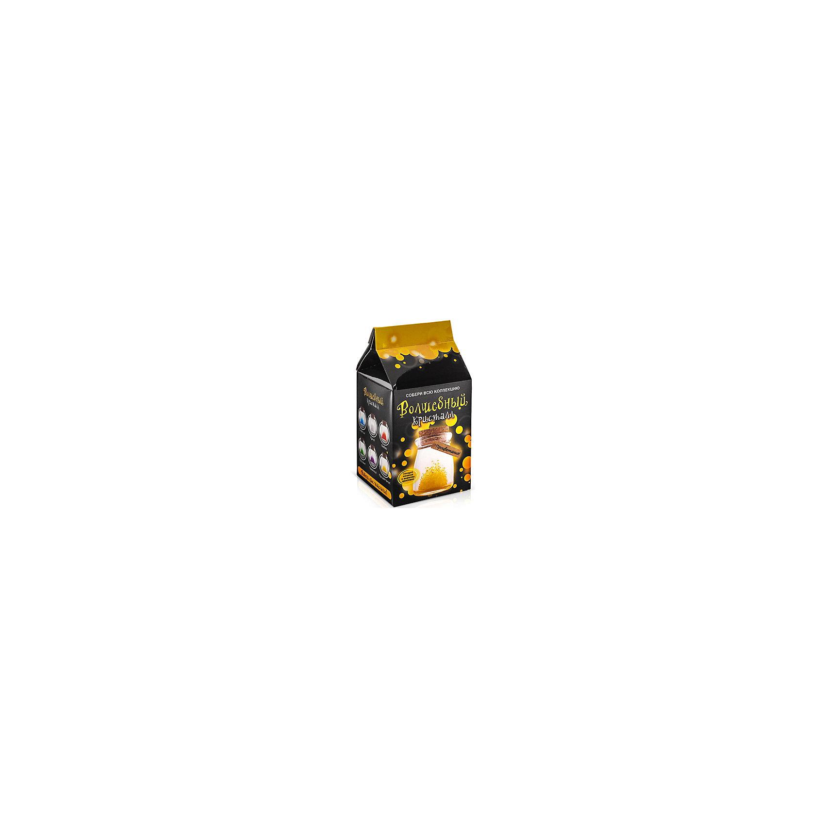 Набор для выращивания кристалов Кристалл с пожеланием Процветания БумбарамКристаллы<br>Кристалл с пожеланием Процветания, Бумбарам.<br><br>Характеристики:<br><br>• кристалл в красивой подарочной упаковке<br>• этикетка с пожеланием<br>• легко создать<br>• безопасные материалы<br>• пошаговая инструкция<br>• в наборе: баночка, кристаллический порошок, кристаллическая таблетка, • палочка, веревочка, пробка, карточка, инструкция<br>• размер упаковки: 15х8 см<br>• вес: 250 грамм<br>• цвет: желтый<br><br>Хотите создать оригинальный подарок своими руками? Кристалл с пожеланием Процветания отлично справится с этой задачей. Этот набор безопасен и очень прост в использовании. Всыпьте порошок в баночку, добавьте воды, тщательно перемешайте и опустите в готовый раствор таблетку. Через 14 часов можно открыть крышку и уже через некоторое время прекрасная композиция будет готова. Вам останется только закрыть крышку и прикрепить веревочку с карточкой. Химический опыт закончен - прекрасный подарок готов!<br><br>Кристалл с пожеланием Процветания, Бумбарам вы можете купить в нашем интернет-магазине.<br><br>Ширина мм: 75<br>Глубина мм: 75<br>Высота мм: 150<br>Вес г: 250<br>Возраст от месяцев: 168<br>Возраст до месяцев: 240<br>Пол: Унисекс<br>Возраст: Детский<br>SKU: 5053939