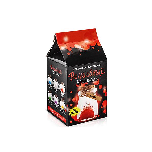 Набор для выращивания кристаллов Кристалл с пожеланием Любви БумбарамВыращивание кристаллов<br>Кристалл с пожеланием Любви, Бумбарам.<br><br>Характеристики:<br><br>• кристалл в красивой подарочной упаковке<br>• этикетка с пожеланием<br>• легко создать<br>• безопасные материалы<br>• пошаговая инструкция<br>• в наборе: баночка, кристаллический порошок, кристаллическая таблетка, палочка, веревочка, пробка, карточка, инструкция<br>• размер упаковки: 15х8 см<br>• вес: 250 грамм<br>• цвет: красный<br><br>Хотите создать оригинальный подарок своими руками? Кристалл с пожеланием Любви отлично справится с этой задачей. Этот набор безопасен и очень прост в использовании. Всыпьте порошок в баночку, добавьте воды, тщательно перемешайте и опустите в готовый раствор таблетку. Через 14 часов можно открыть крышку и уже через некоторое время прекрасная композиция будет готова. Вам останется только закрыть крышку и прикрепить веревочку с карточкой. Химический опыт закончен - прекрасный подарок готов!<br><br>Кристалл с пожеланием Любви, Бумбарам вы можете купить в нашем интернет-магазине.<br>Ширина мм: 75; Глубина мм: 75; Высота мм: 150; Вес г: 250; Возраст от месяцев: 168; Возраст до месяцев: 240; Пол: Унисекс; Возраст: Детский; SKU: 5053943;