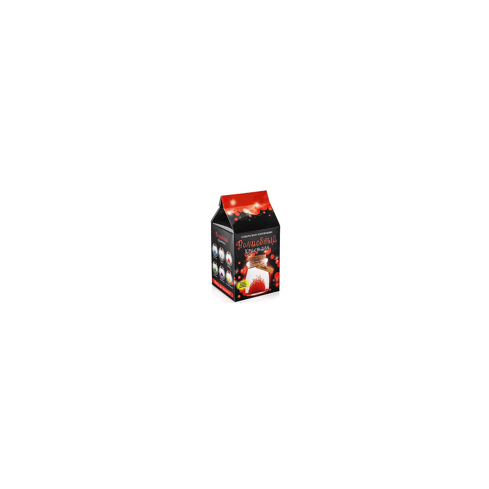 Набор для выращивания кристаллов Кристалл с пожеланием Любви БумбарамКристаллы<br>Кристалл с пожеланием Любви, Бумбарам.<br><br>Характеристики:<br><br>• кристалл в красивой подарочной упаковке<br>• этикетка с пожеланием<br>• легко создать<br>• безопасные материалы<br>• пошаговая инструкция<br>• в наборе: баночка, кристаллический порошок, кристаллическая таблетка, палочка, веревочка, пробка, карточка, инструкция<br>• размер упаковки: 15х8 см<br>• вес: 250 грамм<br>• цвет: красный<br><br>Хотите создать оригинальный подарок своими руками? Кристалл с пожеланием Любви отлично справится с этой задачей. Этот набор безопасен и очень прост в использовании. Всыпьте порошок в баночку, добавьте воды, тщательно перемешайте и опустите в готовый раствор таблетку. Через 14 часов можно открыть крышку и уже через некоторое время прекрасная композиция будет готова. Вам останется только закрыть крышку и прикрепить веревочку с карточкой. Химический опыт закончен - прекрасный подарок готов!<br><br>Кристалл с пожеланием Любви, Бумбарам вы можете купить в нашем интернет-магазине.<br><br>Ширина мм: 75<br>Глубина мм: 75<br>Высота мм: 150<br>Вес г: 250<br>Возраст от месяцев: 168<br>Возраст до месяцев: 240<br>Пол: Унисекс<br>Возраст: Детский<br>SKU: 5053943