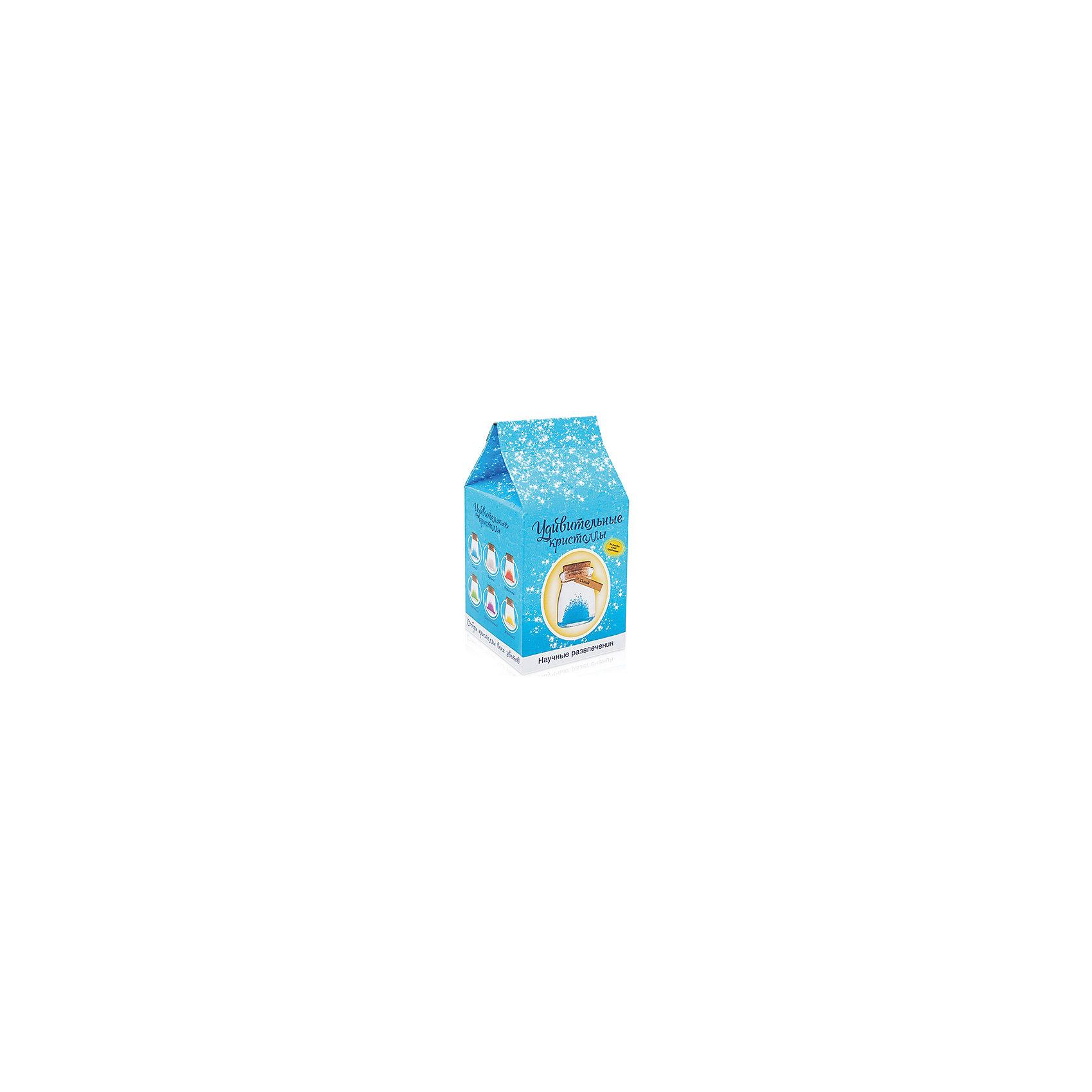 Набор для выращивания кристаллов Удивительный кристалл - Синий БумбарамВыращивание кристаллов<br>Удивительный кристалл - Синий, Бумбарам<br><br>Характеристики:<br><br>• прост в использовании<br>• пошаговая инструкция<br>• безопасные материалы<br>• привлекательная упаковка <br>• можно следить за процессом<br>• в наборе: баночка, кристаллический порошок, кристаллическая таблетка, палочка, веревочка, пробка, карточка, инструкция<br>• размер упаковки: 15х8 см<br>• вес: 250 грамм<br>• цвет: синий<br><br>Удивительный кристалл - набор для творчества. Он хорошо развивает усидчивость и внимательность. С его помощью ребенок сможет сделать прекрасный подарок своими руками. Инструкция очень проста: нужно налить воды в баночку, добавить в нее порошок и тщательно перемешать. Затем положить волшебную таблетку и закрыть баночку крышкой. Через несколько часов можно снять крышку. Через 14-20 дней волшебный кристалл готов! Готовая композиция особенно красиво смотрится под лампой. Удивительный кристалл - прекрасный выбор для начинающего алхимика!<br><br>Удивительный кристалл - Синий, Бумбарам вы можете приобрести в нашем интернет-магазине.<br><br>Ширина мм: 75<br>Глубина мм: 75<br>Высота мм: 150<br>Вес г: 250<br>Возраст от месяцев: 168<br>Возраст до месяцев: 240<br>Пол: Унисекс<br>Возраст: Детский<br>SKU: 5053950
