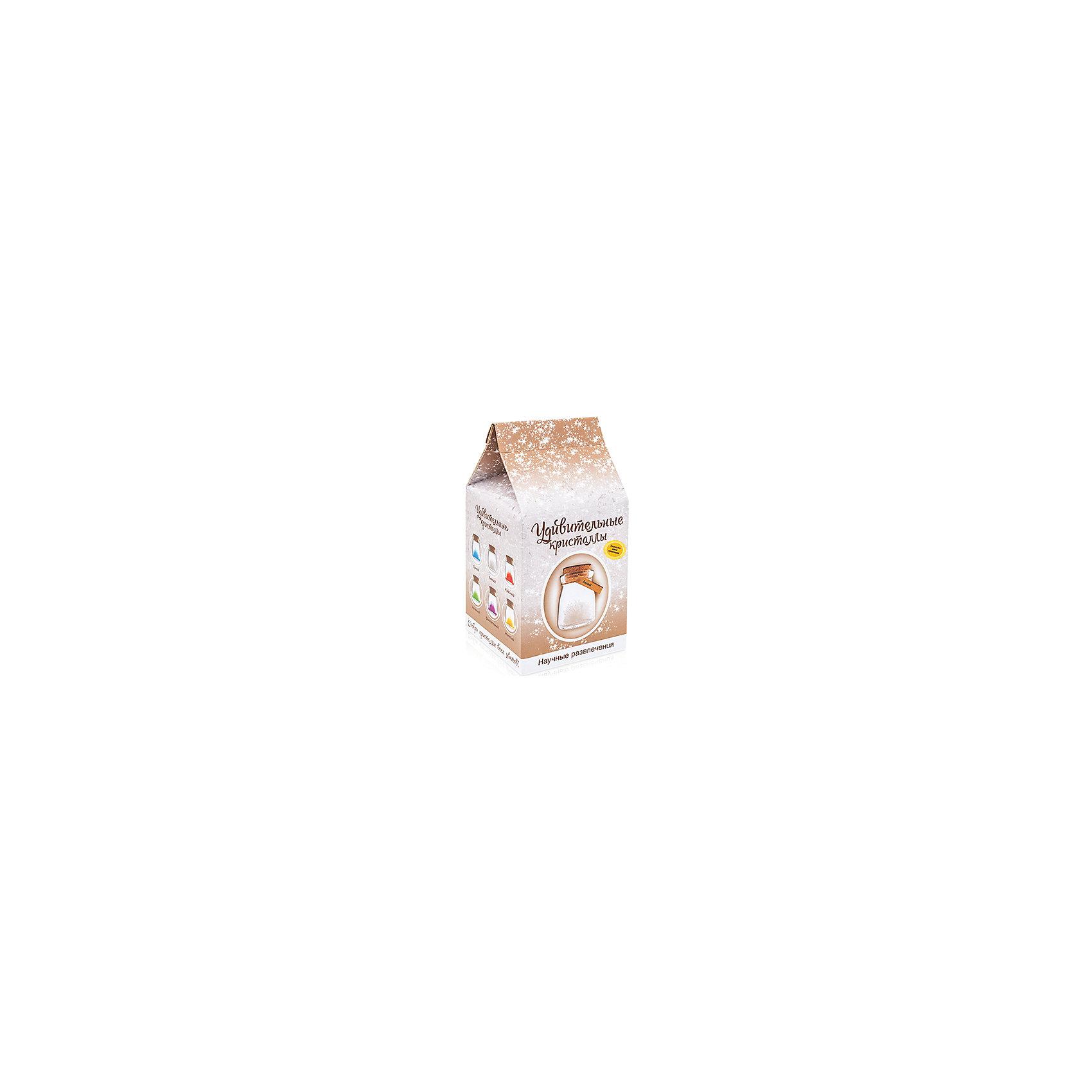 Набор для выращивания кристаллов Удивительный кристалл - Белый БумбарамУдивительный кристалл - Белый, Бумбарам<br><br>Характеристики:<br><br>• прост в использовании<br>• пошаговая инструкция<br>• безопасные материалы<br>• привлекательная упаковка <br>• можно следить за процессом<br>• в наборе: баночка, кристаллический порошок, кристаллическая таблетка, палочка, веревочка, пробка, карточка, инструкция<br>• размер упаковки: 15х8 см<br>• вес: 250 грамм<br>• цвет: синий<br><br>Удивительный кристалл - набор для творчества. Он хорошо развивает усидчивость и внимательность. С его помощью ребенок сможет сделать прекрасный подарок своими руками. Инструкция очень проста: нужно налить воды в баночку, добавить в нее порошок и тщательно перемешать. Затем положить волшебную таблетку и закрыть баночку крышкой. Через несколько часов можно снять крышку. Через 14-20 дней волшебный кристалл готов! Готовая композиция особенно красиво смотрится под лампой. Удивительный кристалл - прекрасный выбор для начинающего алхимика!<br><br>Удивительный кристалл - Белый, Бумбарам вы можете приобрести в нашем интернет-магазине.<br><br>Ширина мм: 75<br>Глубина мм: 75<br>Высота мм: 150<br>Вес г: 250<br>Возраст от месяцев: 168<br>Возраст до месяцев: 240<br>Пол: Унисекс<br>Возраст: Детский<br>SKU: 5053951