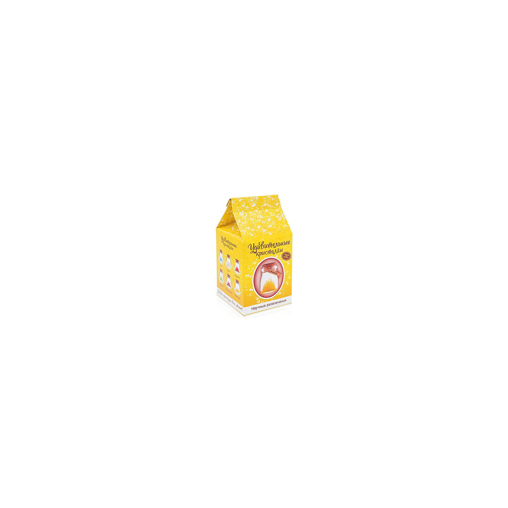 Набор для выращивания кристаллов Удивительный кристалл - Желтый БумбарамВыращивание кристаллов<br>Удивительный кристалл - Желтый, Бумбарам<br><br>Характеристики:<br><br>• прост в использовании<br>• пошаговая инструкция<br>• безопасные материалы<br>• привлекательная упаковка <br>• можно следить за процессом<br>• в наборе: баночка, кристаллический порошок, кристаллическая таблетка, палочка, веревочка, пробка, карточка, инструкция<br>• размер упаковки: 15х8 см<br>• вес: 250 грамм<br>• цвет: синий<br><br>Удивительный кристалл - набор для творчества. Он хорошо развивает усидчивость и внимательность. С его помощью ребенок сможет сделать прекрасный подарок своими руками. Инструкция очень проста: нужно налить воды в баночку, добавить в нее порошок и тщательно перемешать. Затем положить волшебную таблетку и закрыть баночку крышкой. Через несколько часов можно снять крышку. Через 14-20 дней волшебный кристалл готов! Готовая композиция особенно красиво смотрится под лампой. Удивительный кристалл - прекрасный выбор для начинающего алхимика!<br><br>Удивительный кристалл - Желтый, Бумбарам вы можете приобрести в нашем интернет-магазине.<br><br>Ширина мм: 75<br>Глубина мм: 75<br>Высота мм: 150<br>Вес г: 250<br>Возраст от месяцев: 168<br>Возраст до месяцев: 240<br>Пол: Унисекс<br>Возраст: Детский<br>SKU: 5053955