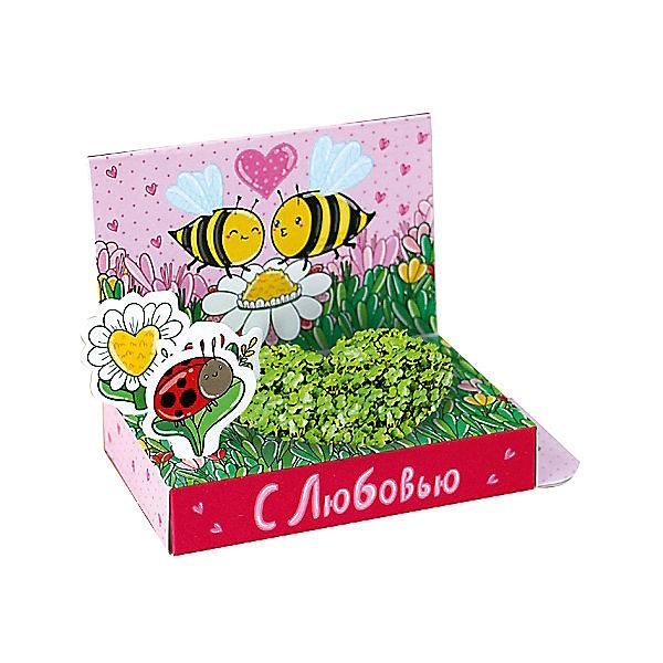 Набор для выращивания Поздравляю - Пчелки Happy PlantВыращивание растений<br>Подарочный набор Весёлые моменты. С любовью! (Пчелки), Happy Plant.<br><br>Характеристики:<br><br>• возможность вырастить настоящую травку, не выходя из дома<br>• прост в использовании<br>• подходит в качестве подарка<br>• есть место для поздравительной надписи<br>• безопасные материалы<br>• гарантия качества<br>• в комплекте: открытка, 3 фигурки, семена, контейнер для растений, агроткань<br>• размер упаковки: 15х8х2,5 см<br>• вес: 30 грамм<br><br>Набор Веселые моменты поможет вам сделать приятный подарок для близкого человека. Для этого нужно всего лишь посадить семена, следуя инструкции. Через несколько дней живая открытка с пчелками преобразится, ведь на ней появится прекрасный мини-садик в форме сердечка. Сзади вы найдете место для пожеланий и теплых слов. Сделать приятное любимому человеку очень просто!<br><br>Подарочный набор Веселые моменты. С любовью! (Пчелки), Happy Plant можно купить в нашем интернет-магазине.<br>Ширина мм: 150; Глубина мм: 80; Высота мм: 25; Вес г: 30; Возраст от месяцев: 168; Возраст до месяцев: 240; Пол: Унисекс; Возраст: Детский; SKU: 5053962;