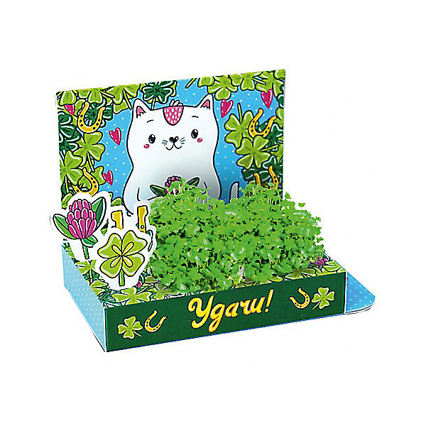 Набор для выращивания Живая открытка - Удачи! Кот, Happy PlantДетские открытки<br>Подарочный набор Веселые моменты. Удачи! (Кот), Happy Plant.<br><br><br>Характеристики:<br><br>• возможность вырастить настоящую травку, не выходя из дома<br>• прост в использовании<br>• подходит в качестве подарка<br>• есть место для поздравительной надписи<br>• безопасные материалы<br>• гарантия качества<br>• в комплекте: открытка, 3 фигурки, семена, контейнер для растений, агроткань<br>• размер упаковки: 15х8х2,5 см<br>• вес: 30 грамм<br><br>Что может быть приятнее подарка, сделанного своими руками? Подарочный набор Веселые моменты поможет вам сделать живую открытку с поздравлениями. Спереди открытка украшены милым котиком, а сзади вы найдете специальное место для поздравлений и пожеланий. Посадите семена в агроткань, смоченную водой, полейте их - через несколько дней живые растения преобразят и оживят картинку. Такой подарок непременно понравится каждому!<br><br>Подарочный набор Веселые моменты Удачи! (Кот), Happy Plant вы можете купить в нашем интернет-магазине.<br><br>Ширина мм: 150<br>Глубина мм: 80<br>Высота мм: 25<br>Вес г: 30<br>Возраст от месяцев: 168<br>Возраст до месяцев: 240<br>Пол: Унисекс<br>Возраст: Детский<br>SKU: 5053963