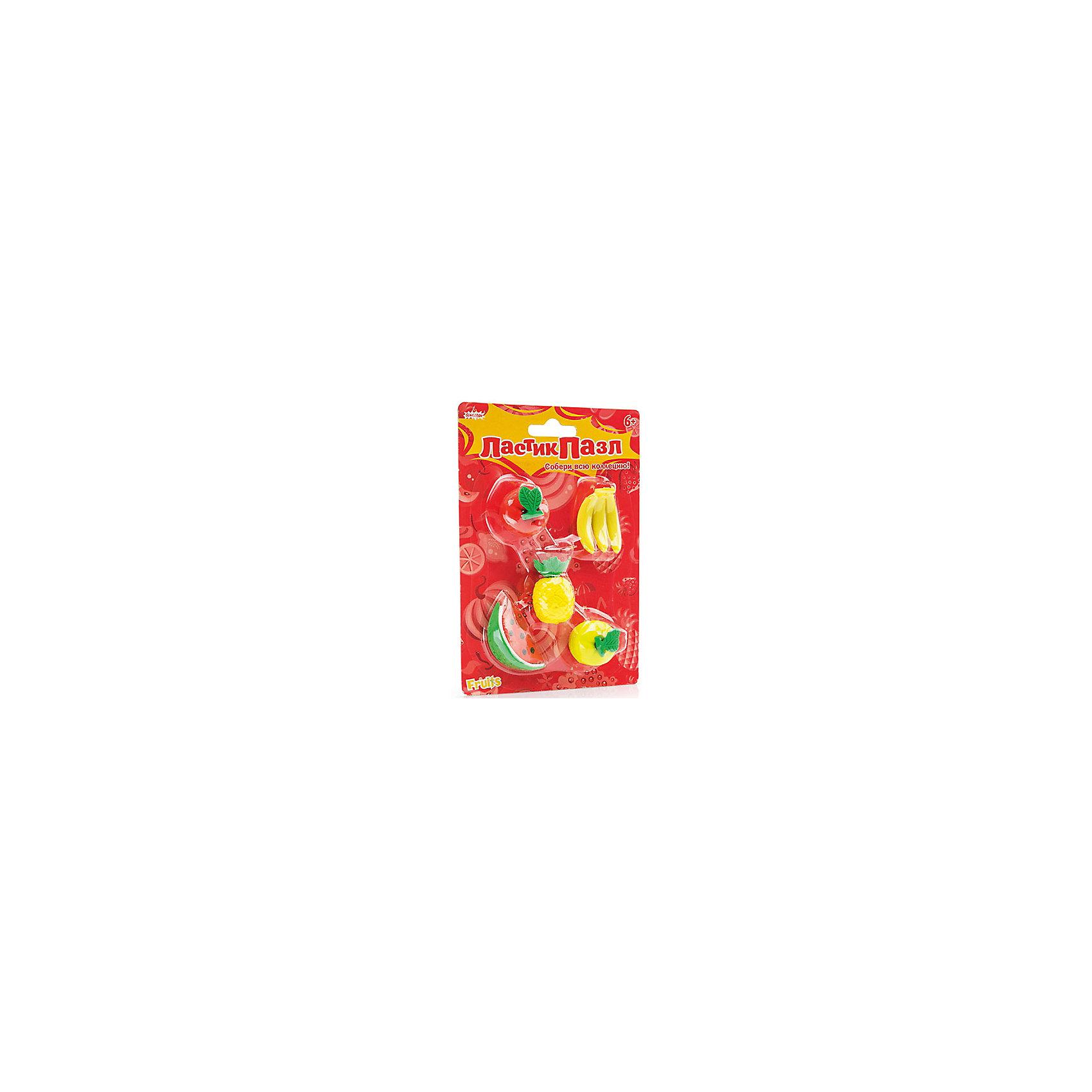 Набор Ластик-пазл - Фруктовое ассорти БумбарамНабор Ластики - пазлы на блистере Фруктовое ассорти, Бумбарам.<br><br>Характеристики:<br><br>• качественный ластик<br>• каждый ластик состоит из нескольких пазлов<br>• развивает внимательность, усидчивость и мелкую моторику<br>• яркий дизайн<br>• материал: резина<br>• размер фигурок: 3-4 см<br>• размер упаковки: 13,5х9,5 см<br>• вес: 85 грамм<br><br>Ластики-пазлы Фруктовое ассорти поможет ребенку вспомнить названия фруктов, которые ему предстоит разобрать, а затем снова собрать. В наборе 4 вида фруктов: долька арбуза, яблоко, ананас, бананы. Этот вид игры поможет развить усидчивость, мелкую моторику и внимательность. Фруктовое ассорти поможет ребенку обучаться и развиваться!<br><br>Набор Ластики-пазлы на блистере Фруктовое ассорти, Бумбарам можно купить в нашем интернет-магазине.<br><br>Ширина мм: 135<br>Глубина мм: 95<br>Высота мм: 50<br>Вес г: 85<br>Возраст от месяцев: 72<br>Возраст до месяцев: 144<br>Пол: Унисекс<br>Возраст: Детский<br>SKU: 5054003