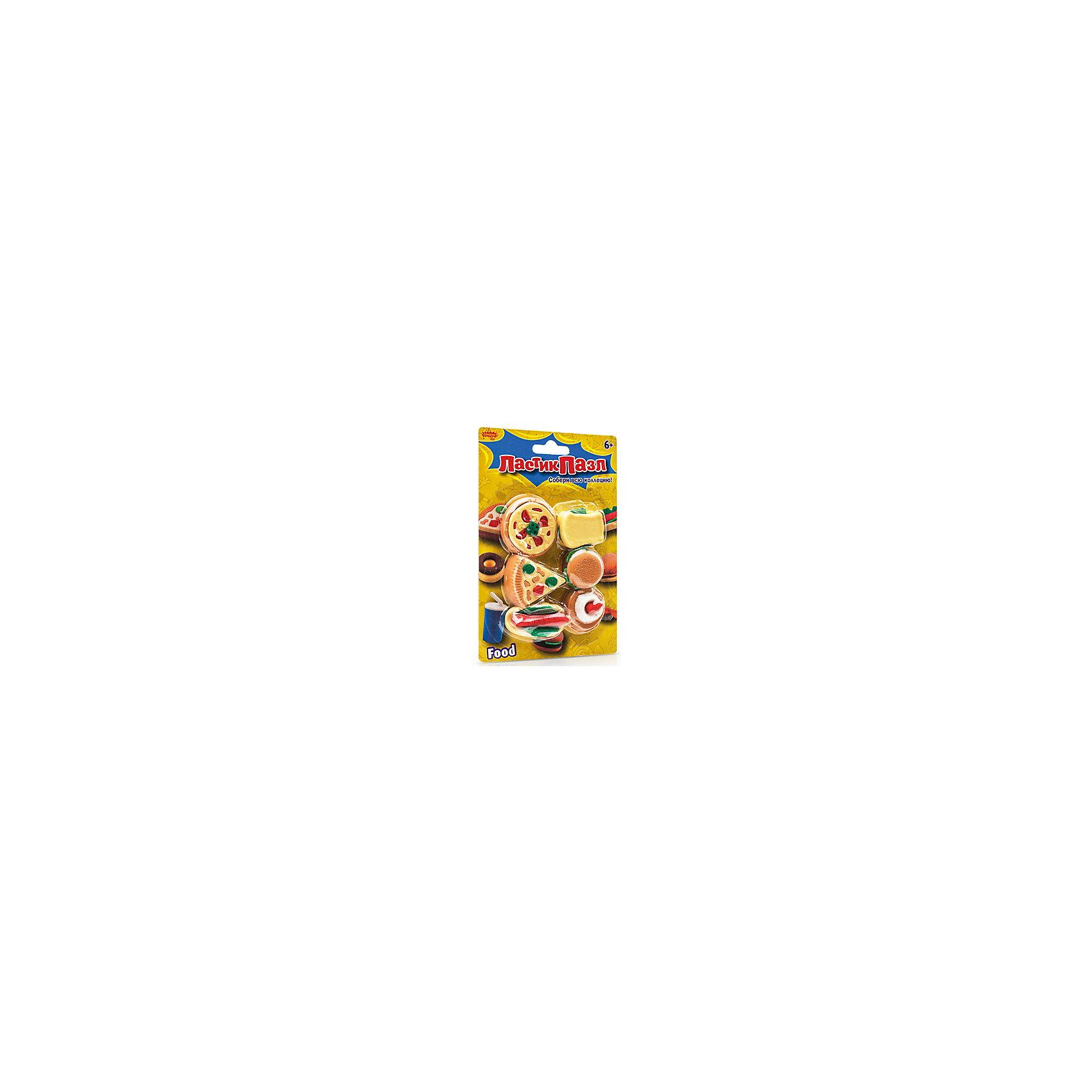 Набор ластиков-пазлов Закуски БумбарамЧертежные принадлежности<br>Набор Ластики-пазлы на блистере Закуски, Бумбарам.<br><br>Характеристики:<br><br>• качественный ластик<br>• каждый ластик состоит из нескольких пазлов<br>• развивает внимательность, усидчивость и мелкую моторику<br>• яркий дизайн<br>• материал: резина<br>• размер фигурок: 2-4 см<br>• размер упаковки: 13,5х9,5 см<br>• вес: 85 грамм<br><br>Набор Ластики-пазлы. Закуски понравится каждому любителю фаст-фуда. Ластики, конечно, не съедобные, зато ребенок сможет разобрать их и собрать заново, использую логику и мышление. Такие головоломки развивают мелкую моторику, усидчивость и внимательность. Превосходный подарок любителям оригинальных пазлов!<br><br>Набор Ластики-пазлы на блистере Закуски, Бумбарам вы можете приобрести в нашем интернет-магазине.<br><br>Ширина мм: 135<br>Глубина мм: 95<br>Высота мм: 50<br>Вес г: 85<br>Возраст от месяцев: 72<br>Возраст до месяцев: 144<br>Пол: Унисекс<br>Возраст: Детский<br>SKU: 5054009