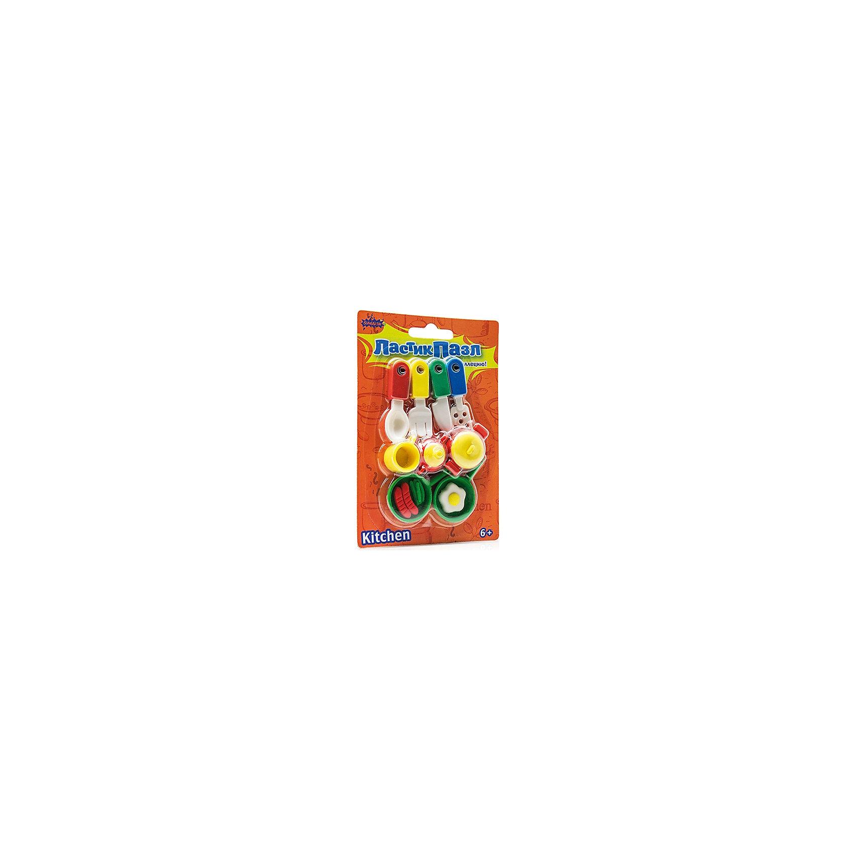 Набор Ластик-Пазл - Кухня БумбарамЧертежные принадлежности<br>Набор Ластики-пазлы на блистере Посуда для кухни, Бумбарам.<br><br>Характеристики:<br><br>• качественный ластик<br>• каждый ластик состоит из нескольких пазлов<br>• развивает внимательность, усидчивость и мелкую моторику<br>• яркий дизайн<br>• материал: резина<br>• размер фигурок: 2-4 см<br>• размер упаковки: 13,5х9,5 см<br>• вес: 85 грамм<br><br>Набор Ластики-пазлы на блистере Посуда для кухни содержит 9 различных атрибутов для каждой кухни. Все фигурки можно разобрать, а затем снова собрать пазл. Это поможет развить мелкую моторику, внимательность и логику. Такие универсальные ластики пригодятся каждому ребенку!<br><br>Набор Ластики-пазлы на блистере Посуда для кухни, Бумбарам вы можете купить в нашем интернет-магазине.<br><br>Ширина мм: 135<br>Глубина мм: 95<br>Высота мм: 50<br>Вес г: 85<br>Возраст от месяцев: 72<br>Возраст до месяцев: 144<br>Пол: Женский<br>Возраст: Детский<br>SKU: 5054010