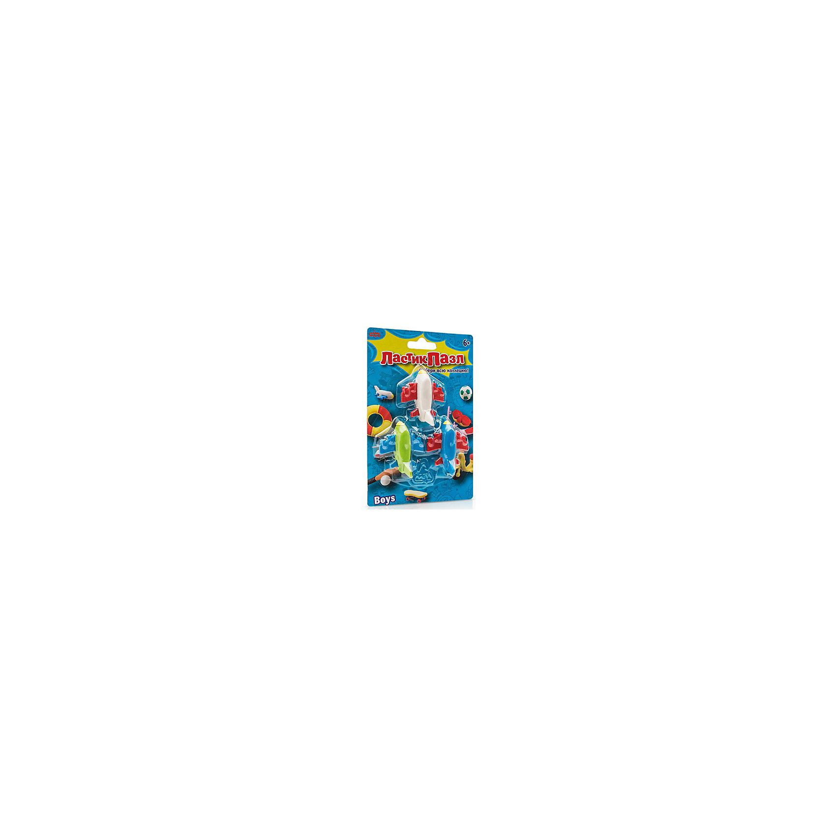Набор Ластик-Пазл - Самолетики БумбарамЧертежные принадлежности<br>Набор Ластики - пазлы на блистере Самолетики, Бумбарам.<br><br>Характеристики:<br><br>• качественный ластик<br>• каждый ластик состоит из нескольких пазлов<br>• развивает внимательность, усидчивость и мелкую моторику<br>• яркий дизайн<br>• материал: резина<br>• размер фигурок: 3-4 см<br>• размер упаковки: 13,5х9,5 см<br>• вес: 85 грамм<br><br>Ластики-пазлы содержат 3 самолета разного цвета: синий, зеленый и белый. Каждая фигурка разбирается на пазлы, которые ребенку предстоит собрать воедино. Это поможет развить внимательность, мелкую моторику и усидчивость. Яркий ластик-самолетик поможет ребенку обучаться и развиваться!<br><br>Набор Ластики-пазлы на блистере Самолетики, Бумбарам вы можете приобрести в нашем интернет-магазине.<br><br>Ширина мм: 135<br>Глубина мм: 95<br>Высота мм: 50<br>Вес г: 85<br>Возраст от месяцев: 72<br>Возраст до месяцев: 144<br>Пол: Мужской<br>Возраст: Детский<br>SKU: 5054011