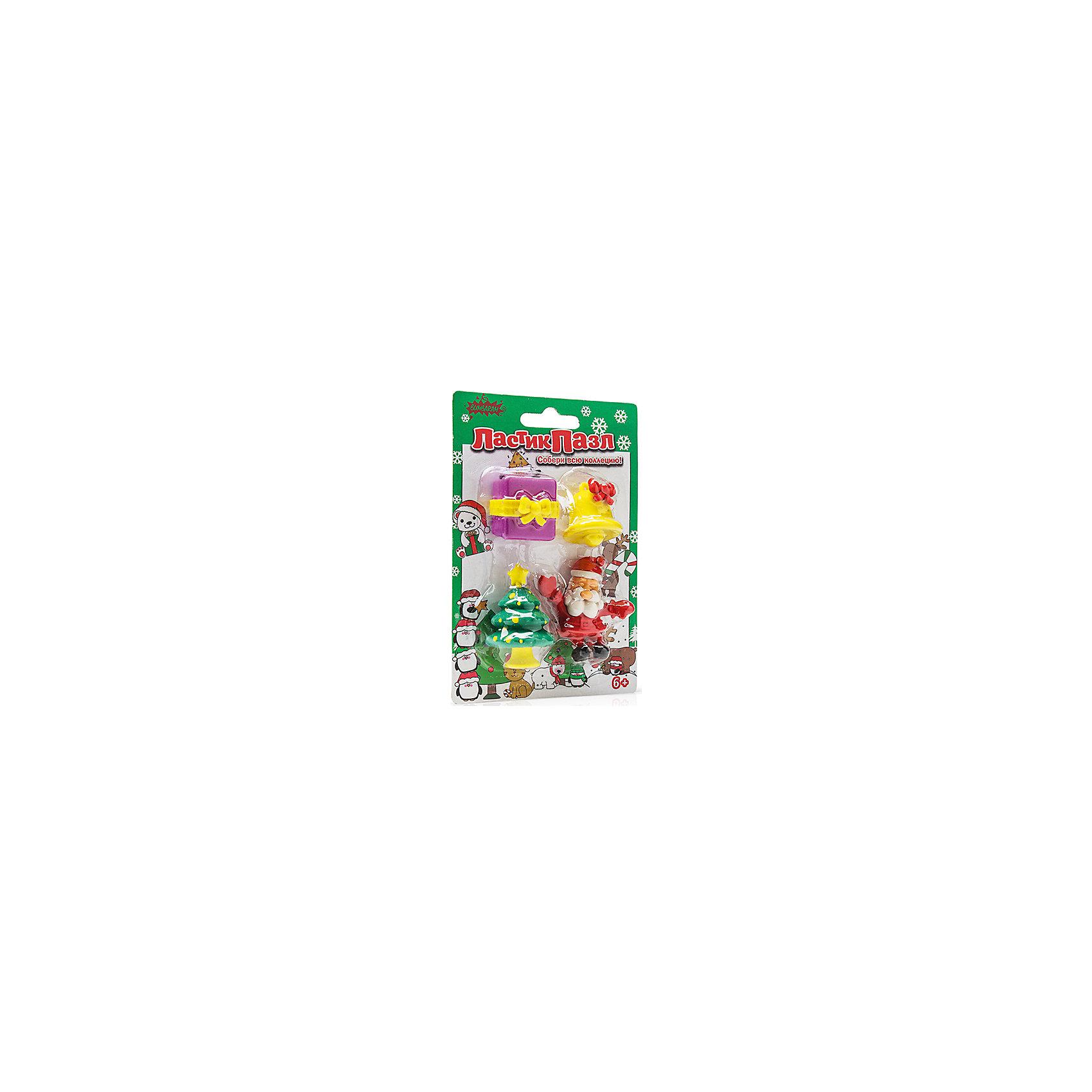 Бумбарам Набор Ластики-пазлы - Дед мороз Бумбарам игровые фигурки maxitoys фигура дед мороз в плетеном кресле музыкальный