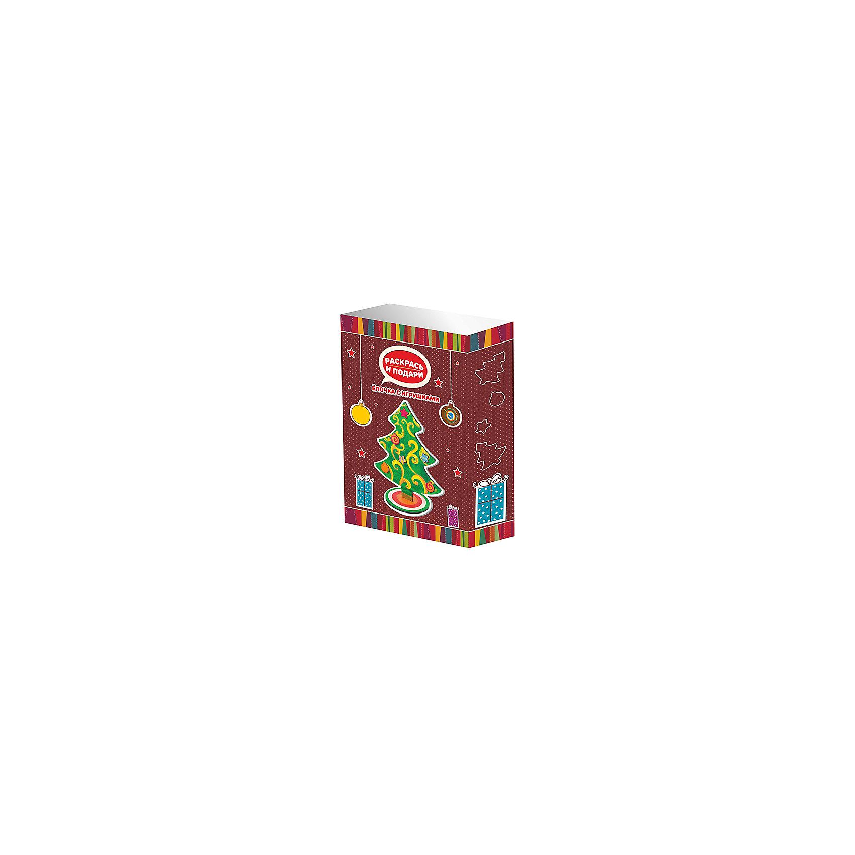 Набор для творчества Раскрась и подари - Елочка с игрушками БумбарамВсё для праздника<br>Набор Елочка с игрушками, Бумбарам.<br><br>Характеристики:<br><br>• новогодний сувенир своими руками<br>• краска легко наносится<br>• подходит в качестве подарка<br>• материал: дерево, краска, пластик, клей<br>• в комплекте: елка, игрушки, краски (6 цветов), клей<br>• размер упаковки: 24х17х5 см<br>• вес: 250 грамм<br><br>Набор Елочка с игрушками прекрасно подойдет для детского творчества в преддверии Нового года. В процессе игры ребенку предстоит раскрасить все детали и прикрепить игрушки к елочке с помощью клея. Готовой поделкой можно украсить свою комнату или подарить ее близкому человеку. Подарите ребенку возможность сделать красочный сувенир своими руками!<br><br>Вы можете купить набор Елочка с игрушками, Бумбарам в нашем интернет-магазине.<br><br>Ширина мм: 245<br>Глубина мм: 165<br>Высота мм: 50<br>Вес г: 250<br>Возраст от месяцев: 72<br>Возраст до месяцев: 144<br>Пол: Унисекс<br>Возраст: Детский<br>SKU: 5054028