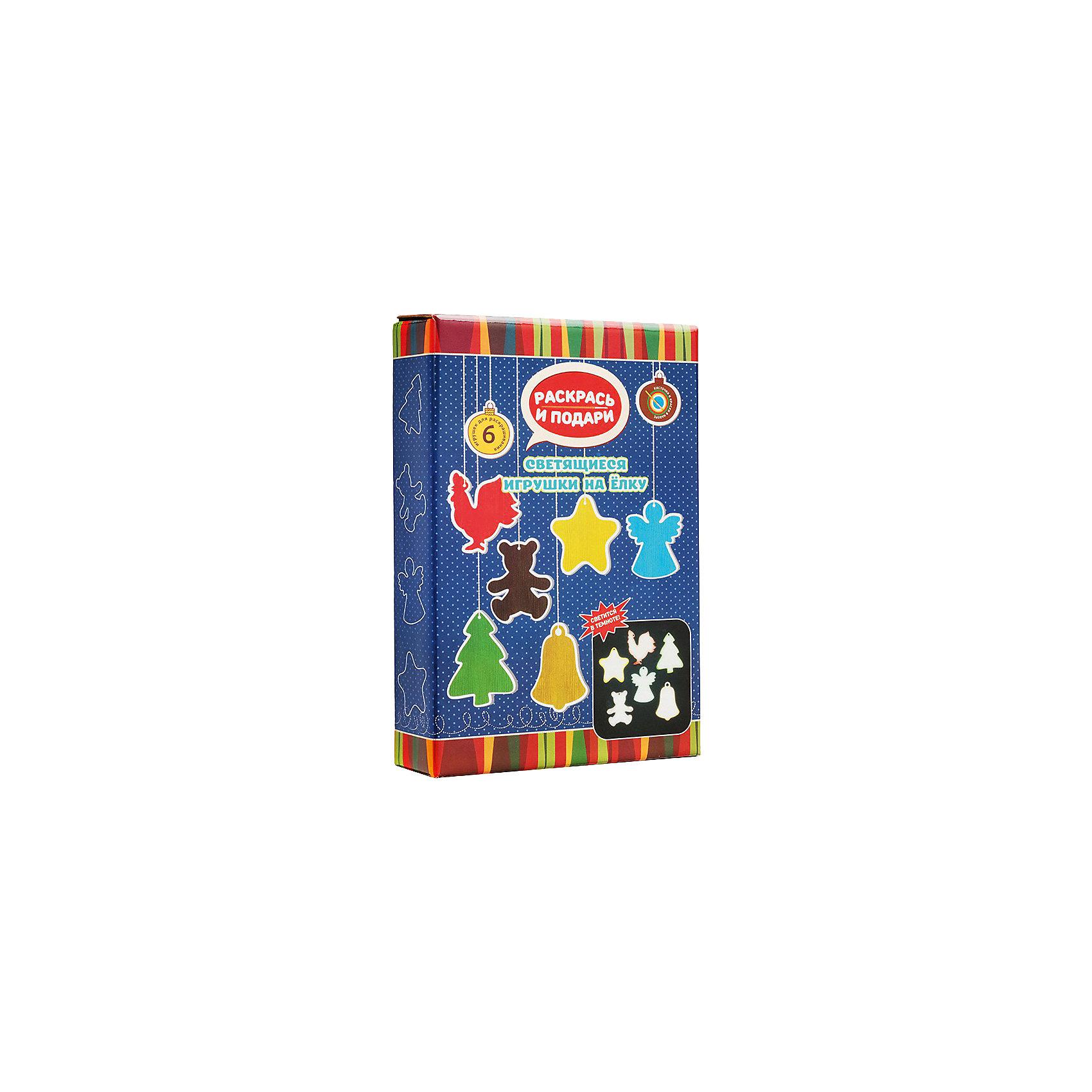 Набор для создания светящихся елочных игрушек Раскрась и подари БумбарамЁлочные игрушки<br>Набор Светящиеся игрушки на елку, Бумбарам.<br><br>Характеристики:<br><br>• новогодний сувенир своими руками<br>• краска легко наносится<br>• светятся в темноте<br>• подходит в качестве подарка<br>• материал: дерево, краска, пластик, клей<br>• в комплекте: елка, игрушки, краски (6 цветов), клей, светящееся вещество<br>• размер упаковки: 24х17х5 см<br>• вес: 250 грамм<br><br>Набор Светящиеся игрушки на елку прекрасно подойдет для детского творчества в преддверии Нового года. В процессе игры ребенку предстоит раскрасить все детали, покрыть их клеем, затем нанести специальное светящееся вещество и снова закрепить клеем. Игрушки будут светиться в темноте и ими будет приятно украсить новогоднюю елку. Подарите ребенку возможность сделать красивые игрушки своими руками!<br><br>Вы можете купить набор Светящиеся игрушки на елку, Бумбарам в нашем интернет-магазине.<br><br>Ширина мм: 245<br>Глубина мм: 165<br>Высота мм: 50<br>Вес г: 250<br>Возраст от месяцев: 72<br>Возраст до месяцев: 144<br>Пол: Унисекс<br>Возраст: Детский<br>SKU: 5054030