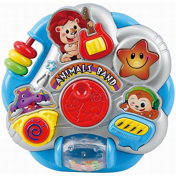 Развивающая игрушка Оркестр с животными, PlaygoРазвивающие центры<br>Развивающая игрушка Оркестр с животными, Playgo<br><br>Характеристики:<br><br>- Материал: пластик<br>- В комплект входит: игрушка, батарейки 2шт. <br>- Элементы питания: батарейки АА<br>- Размер упаковки: 34 * 20 * 2 см.<br>- Вес: 384 гр.<br><br>Оркестр с животными от известного китайского бренда развивающих игрушек для детей Playgo (Плейго) станет прекрасным подарком для крохи. Львенок, бегемотик, обезьянка и звездочка решили создать свою музыкальную группу, но они не смогут хорошо играть без помощи малыша. В группе есть гитарист, клавишник и барабанщик, ребенку нужно нажимать на кнопки, чтобы помочь им играть. Кроме того, на пластиковой игрушке имеется крутящийся барабан и двигающиеся цветные колечки. Изготовленная из качественного пластика, яркая игрушка поможет развить тактильные ощущения, звуковое восприятие, воображение, световое восприятие и моторику ручек. Небольшой размер позволит брать веселую игрушку на прогулку или в поездку.<br><br>Развивающую игрушку Оркестр с животными, Playgo (Плейго) можно купить в нашем интернет-магазине.<br><br>Ширина мм: 210<br>Глубина мм: 200<br>Высота мм: 55<br>Вес г: 384<br>Возраст от месяцев: 6<br>Возраст до месяцев: 24<br>Пол: Унисекс<br>Возраст: Детский<br>SKU: 5054052
