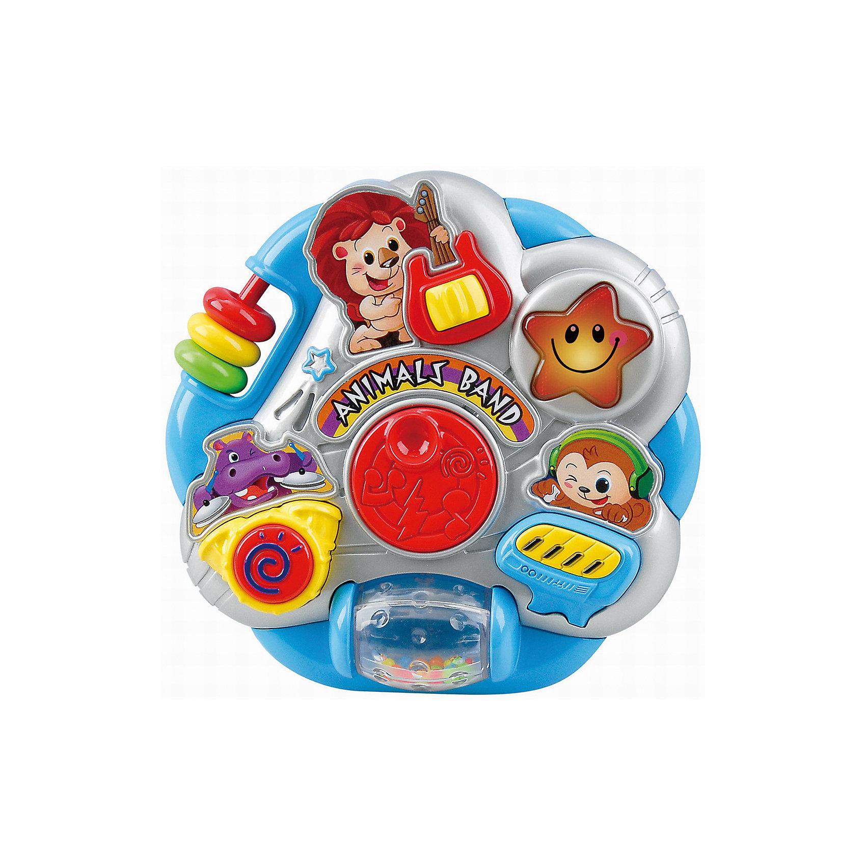 Развивающая игрушка Оркестр с животными, PlaygoРазвивающая игрушка Оркестр с животными, Playgo<br><br>Характеристики:<br><br>- Материал: пластик<br>- В комплект входит: игрушка, батарейки 2шт. <br>- Элементы питания: батарейки АА<br>- Размер упаковки: 34 * 20 * 2 см.<br>- Вес: 384 гр.<br><br>Оркестр с животными от известного китайского бренда развивающих игрушек для детей Playgo (Плейго) станет прекрасным подарком для крохи. Львенок, бегемотик, обезьянка и звездочка решили создать свою музыкальную группу, но они не смогут хорошо играть без помощи малыша. В группе есть гитарист, клавишник и барабанщик, ребенку нужно нажимать на кнопки, чтобы помочь им играть. Кроме того, на пластиковой игрушке имеется крутящийся барабан и двигающиеся цветные колечки. Изготовленная из качественного пластика, яркая игрушка поможет развить тактильные ощущения, звуковое восприятие, воображение, световое восприятие и моторику ручек. Небольшой размер позволит брать веселую игрушку на прогулку или в поездку.<br><br>Развивающую игрушку Оркестр с животными, Playgo (Плейго) можно купить в нашем интернет-магазине.<br><br>Ширина мм: 210<br>Глубина мм: 200<br>Высота мм: 55<br>Вес г: 384<br>Возраст от месяцев: 6<br>Возраст до месяцев: 24<br>Пол: Унисекс<br>Возраст: Детский<br>SKU: 5054052