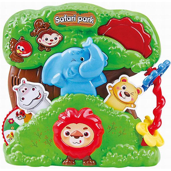 Развивающая игрушка Сафари парк, PlaygoРазвивающие центры<br>Развивающая игрушка Сафари парк, Playgo<br><br>Характеристики:<br>- Материал: пластик<br>- В комплект входит: игрушка, батарейки 2шт. <br>- Элементы питания: батарейки АА<br>- Размер упаковки: 22 * 5 * 20 см.<br>- Вес: 430 гр.<br>Парк Сафари от известного китайского бренда развивающих игрушек для детей Playgo (Плейго) станет прекрасным подарком для крохи. Львенок, бегемотик, медвежонок, слоненок и озорная обезьянка в зеленом тропическом парке рады провести время с малышом. Колесо фортуны бегемотика крутится и показывает насекомых парка, а нажимая на кнопочки можно узнать как говорят животные и послушать песенки. Кроме того, на пластиковой игрушке имеется крутящийся барабан и двигающиеся цветные колечки-цветочки. Изготовленная из качественного пластика, яркая игрушка поможет развить тактильные ощущения, звуковое восприятие, воображение, световое восприятие и моторику ручек. Небольшой размер позволит брать веселую игрушку на прогулку или в поездку.<br>Развивающую игрушку Сафари парк, Playgo (Плейго) можно купить в нашем интернет-магазине.<br>Подробнее:<br>• Для детей в возрасте: от 6 до 24 месяцев <br>• Номер товара: 5054054<br>Страна производитель: Китай<br><br>Ширина мм: 210<br>Глубина мм: 200<br>Высота мм: 55<br>Вес г: 430<br>Возраст от месяцев: 6<br>Возраст до месяцев: 24<br>Пол: Унисекс<br>Возраст: Детский<br>SKU: 5054054