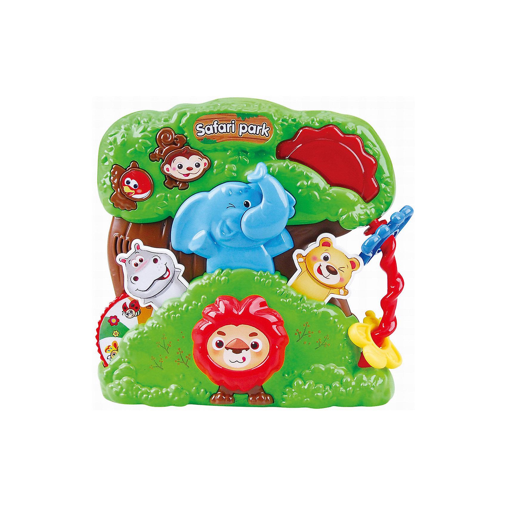 Развивающая игрушка Сафари парк, PlaygoРазвивающие игрушки<br>Развивающая игрушка Сафари парк, Playgo<br><br>Характеристики:<br>- Материал: пластик<br>- В комплект входит: игрушка, батарейки 2шт. <br>- Элементы питания: батарейки АА<br>- Размер упаковки: 22 * 5 * 20 см.<br>- Вес: 430 гр.<br>Парк Сафари от известного китайского бренда развивающих игрушек для детей Playgo (Плейго) станет прекрасным подарком для крохи. Львенок, бегемотик, медвежонок, слоненок и озорная обезьянка в зеленом тропическом парке рады провести время с малышом. Колесо фортуны бегемотика крутится и показывает насекомых парка, а нажимая на кнопочки можно узнать как говорят животные и послушать песенки. Кроме того, на пластиковой игрушке имеется крутящийся барабан и двигающиеся цветные колечки-цветочки. Изготовленная из качественного пластика, яркая игрушка поможет развить тактильные ощущения, звуковое восприятие, воображение, световое восприятие и моторику ручек. Небольшой размер позволит брать веселую игрушку на прогулку или в поездку.<br>Развивающую игрушку Сафари парк, Playgo (Плейго) можно купить в нашем интернет-магазине.<br>Подробнее:<br>• Для детей в возрасте: от 6 до 24 месяцев <br>• Номер товара: 5054054<br>Страна производитель: Китай<br><br>Ширина мм: 210<br>Глубина мм: 200<br>Высота мм: 55<br>Вес г: 430<br>Возраст от месяцев: 6<br>Возраст до месяцев: 24<br>Пол: Унисекс<br>Возраст: Детский<br>SKU: 5054054