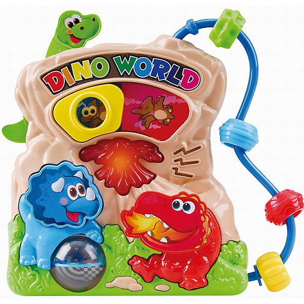 Развивающая игрушка Мир динозавров, PlaygoРазвивающие центры<br>Развивающая игрушка Мир динозавров, Playgo<br><br>Характеристики:<br>- Материал: пластик<br>- В комплект входит: игрушка, батарейки 2шт. <br>- Элементы питания: батарейки АА<br>- Размер упаковки: 22 * 5 * 20 см.<br>- Вес: 430 гр.<br>Мир динозавров от известного китайского бренда развивающих игрушек для детей Playgo (Плейго) станет прекрасным подарком для крохи. Птеродактиль, трицератопс и бронтозавр в своей обычной среде обитания рады провести время с малышом. Колесо фортуны трицератопса крутится, а нажимая на кнопочки можно узнать как говорят динозавры и послушать песенки. Кроме того, на пластиковой игрушке имеются двигающиеся цветные колечки. Изготовленная из качественного пластика, яркая игрушка поможет развить тактильные ощущения, звуковое восприятие, воображение, световое восприятие и моторику ручек. Небольшой размер позволит брать веселую игрушку на прогулку или в поездку.<br>Развивающую игрушку Мир динозавров, Playgo (Плейго) можно купить в нашем интернет-магазине.<br>Подробнее:<br>• Для детей в возрасте: от 6 до 24 месяцев <br>• Номер товара: 5054055<br>Страна производитель: Китай<br>Ширина мм: 210; Глубина мм: 200; Высота мм: 55; Вес г: 430; Возраст от месяцев: 6; Возраст до месяцев: 24; Пол: Унисекс; Возраст: Детский; SKU: 5054055;