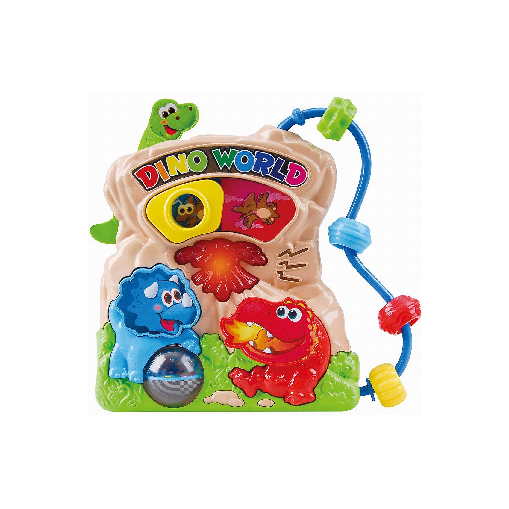 Развивающая игрушка Мир динозавров, PlaygoРазвивающие игрушки<br>Развивающая игрушка Мир динозавров, Playgo<br><br>Характеристики:<br>- Материал: пластик<br>- В комплект входит: игрушка, батарейки 2шт. <br>- Элементы питания: батарейки АА<br>- Размер упаковки: 22 * 5 * 20 см.<br>- Вес: 430 гр.<br>Мир динозавров от известного китайского бренда развивающих игрушек для детей Playgo (Плейго) станет прекрасным подарком для крохи. Птеродактиль, трицератопс и бронтозавр в своей обычной среде обитания рады провести время с малышом. Колесо фортуны трицератопса крутится, а нажимая на кнопочки можно узнать как говорят динозавры и послушать песенки. Кроме того, на пластиковой игрушке имеются двигающиеся цветные колечки. Изготовленная из качественного пластика, яркая игрушка поможет развить тактильные ощущения, звуковое восприятие, воображение, световое восприятие и моторику ручек. Небольшой размер позволит брать веселую игрушку на прогулку или в поездку.<br>Развивающую игрушку Мир динозавров, Playgo (Плейго) можно купить в нашем интернет-магазине.<br>Подробнее:<br>• Для детей в возрасте: от 6 до 24 месяцев <br>• Номер товара: 5054055<br>Страна производитель: Китай<br><br>Ширина мм: 210<br>Глубина мм: 200<br>Высота мм: 55<br>Вес г: 430<br>Возраст от месяцев: 6<br>Возраст до месяцев: 24<br>Пол: Унисекс<br>Возраст: Детский<br>SKU: 5054055