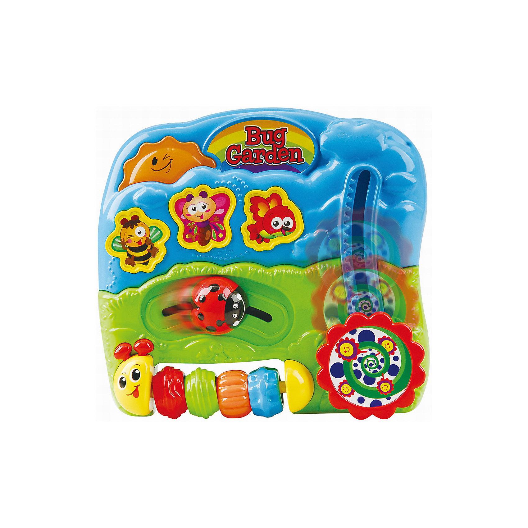 Развивающая игрушка Сад букашек, PlaygoРазвивающие игрушки<br>Развивающая игрушка Сад букашек, Playgo<br><br>Характеристики:<br>- Материал: пластик<br>- В комплект входит: игрушка, батарейки 2шт. <br>- Элементы питания: батарейки АА<br>- Размер упаковки: 17 * 5 * 17 см.<br>- Вес: 430 гр.<br>Сад букашек от известного китайского бренда развивающих игрушек для детей Playgo (Плейго) станет прекрасным подарком для крохи. Божья коровка, пчелка, бабочка, гусеничка и птичка в своей обычной среде обитания рады провести время с малышом. Колесо с цветочками крутится и двигается вверх-вниз, а нажимая на кнопочки можно послушать песенки и услышать разные звуки. Кроме того, на пластиковой гусенице имеются рельефные двигающиеся цветные колечки. Изготовленная из качественного пластика, яркая игрушка поможет развить тактильные ощущения, звуковое восприятие, воображение, световое восприятие и моторику ручек. Небольшой размер позволит брать веселую игрушку на прогулку или в поездку.<br>Развивающую игрушку Сад букашек, Playgo (Плейго) можно купить в нашем интернет-магазине.<br>Подробнее:<br>• Для детей в возрасте: от 6 до 24 месяцев <br>• Номер товара: 5054056<br>Страна производитель: Китай<br><br>Ширина мм: 210<br>Глубина мм: 200<br>Высота мм: 55<br>Вес г: 430<br>Возраст от месяцев: 6<br>Возраст до месяцев: 24<br>Пол: Унисекс<br>Возраст: Детский<br>SKU: 5054056