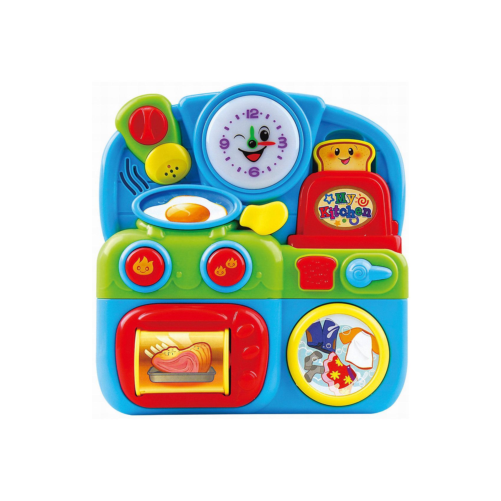 Развивающая игрушка Маленькая кухня, PlaygoРазвивающие игрушки<br>Развивающая игрушка Маленькая кухня, Playgo<br><br>Характеристики:<br>- Материал: пластик<br>- В комплект входит: игрушка, батарейки 2шт. <br>- Элементы питания: батарейки АА<br>- Размер упаковки: 17 * 5 * 17 см.<br>- Вес: 417 гр.<br>Маленькая кухня от известного китайского бренда развивающих игрушек для детей Playgo (Плейго) станет прекрасным подарком для крохи. Плита, духовой шкаф, стиральная машина, тостер, гигантская солонка и большие часы научат ребенка кухне и что на ней есть. Колесо духовки  крутится и показывает разные блюда, а нажимая на кнопочки можно послушать песенки и услышать разные звуки. Изготовленная из качественного пластика, яркая игрушка поможет развить тактильные ощущения, звуковое восприятие, воображение и световое восприятие и моторику ручек. Небольшой размер позволит брать веселую игрушку на прогулку или в поездку.<br>Развивающую игрушку Маленькая кухня, Playgo (Плейго) можно купить в нашем интернет-магазине.<br>Подробнее:<br>• Для детей в возрасте: от 6 до 24 месяцев <br>• Номер товара: 5054057<br>Страна производитель: Китай<br><br>Ширина мм: 210<br>Глубина мм: 200<br>Высота мм: 55<br>Вес г: 417<br>Возраст от месяцев: 6<br>Возраст до месяцев: 24<br>Пол: Унисекс<br>Возраст: Детский<br>SKU: 5054057