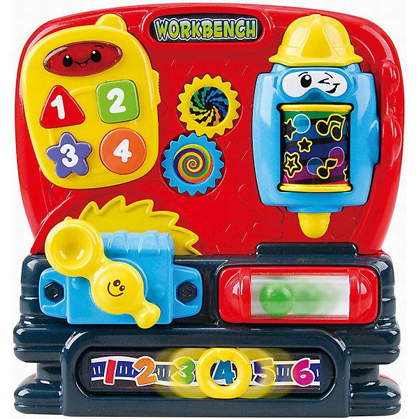 Развивающая игрушка Мастерская, PlaygoРазвивающие центры<br>Развивающая игрушка Мастерская, Playgo<br><br>Характеристики:<br>- Материал: пластик<br>- В комплект входит: игрушка, батарейки 2шт. <br>- Элементы питания: батарейки АА<br>- Размер упаковки: 20 * 5,5 * 21 см.<br>- Вес: 447 гр.<br>Развивающая мастерская от известного китайского бренда развивающих игрушек для детей Playgo (Плейго) станет прекрасным подарком для крохи. Пила, веселая дрель, рулетка с яркими цифрами и большой телефон развеселят ребенка и помогут ему провести время обучения играючи. Колесо дрели крутится и показывает разные нотки, а нажимая на кнопочки можно послушать песенки и услышать разные звуки. Изготовленная из качественного пластика, яркая игрушка поможет развить тактильные ощущения, звуковое восприятие, воображение и световое восприятие и моторику ручек. Небольшой размер позволит брать веселую игрушку на прогулку или в поездку.<br>Развивающую игрушку Мастерская, Playgo (Плейго) можно купить в нашем интернет-магазине.<br>Подробнее:<br>• Для детей в возрасте: от 6 до 24 месяцев <br>• Номер товара: 5054058<br>Страна производитель: Китай<br><br>Ширина мм: 210<br>Глубина мм: 200<br>Высота мм: 55<br>Вес г: 447<br>Возраст от месяцев: 6<br>Возраст до месяцев: 24<br>Пол: Унисекс<br>Возраст: Детский<br>SKU: 5054058