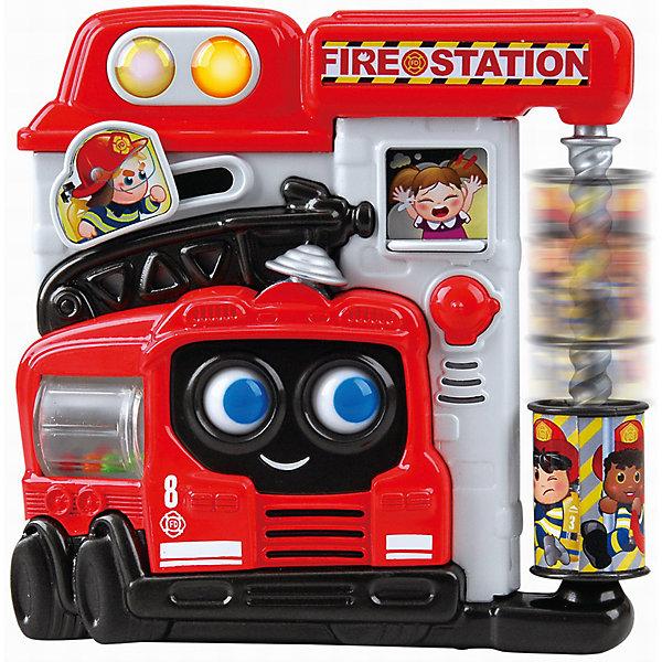Развивающая игрушка Пожарная станция, PlaygoРазвивающие центры<br>Развивающая игрушка Пожарная станция, Playgo<br><br>Характеристики:<br>- Материал: пластик<br>- В комплект входит: игрушка, батарейки 2шт. <br>- Элементы питания: батарейки АА<br>- Размер упаковки: 20 * 5,5 * 21 см.<br>- Вес: 430 гр.<br>Пожарная станция от известного китайского бренда развивающих игрушек для детей Playgo (Плейго) станет прекрасным подарком для крохи. Пожарные, большая пожарная машина и веселая лестница для пожарных научат малыша храбрости и покажут как быть настоящим героем. Барабан с нарисованными пожарными по спирали крутится и спускается вниз, как настоящий пожарный расчёт. Пожарная автоцистерна крутится, а внутри нее цветные шарики. Маленькая девочка в окошке плачет, а если окошко передвинуть, то она будет радоваться, потому что ее уже спасли от пожара. Нажимая на кнопочки можно послушать песенки и услышать разные звуки по теме. Изготовленная из качественного пластика, яркая игрушка поможет развить тактильные ощущения, звуковое восприятие, воображение, световое восприятие и моторику ручек. Небольшой размер позволит брать веселую игрушку на прогулку или в поездку.<br>Развивающую игрушку Пожарная станция, Playgo (Плейго) можно купить в нашем интернет-магазине.<br>Подробнее:<br>• Для детей в возрасте: от 6 до 24 месяцев <br>• Номер товара: 5054059<br>Страна производитель: Китай<br>Ширина мм: 210; Глубина мм: 200; Высота мм: 55; Вес г: 430; Возраст от месяцев: 6; Возраст до месяцев: 24; Пол: Унисекс; Возраст: Детский; SKU: 5054059;