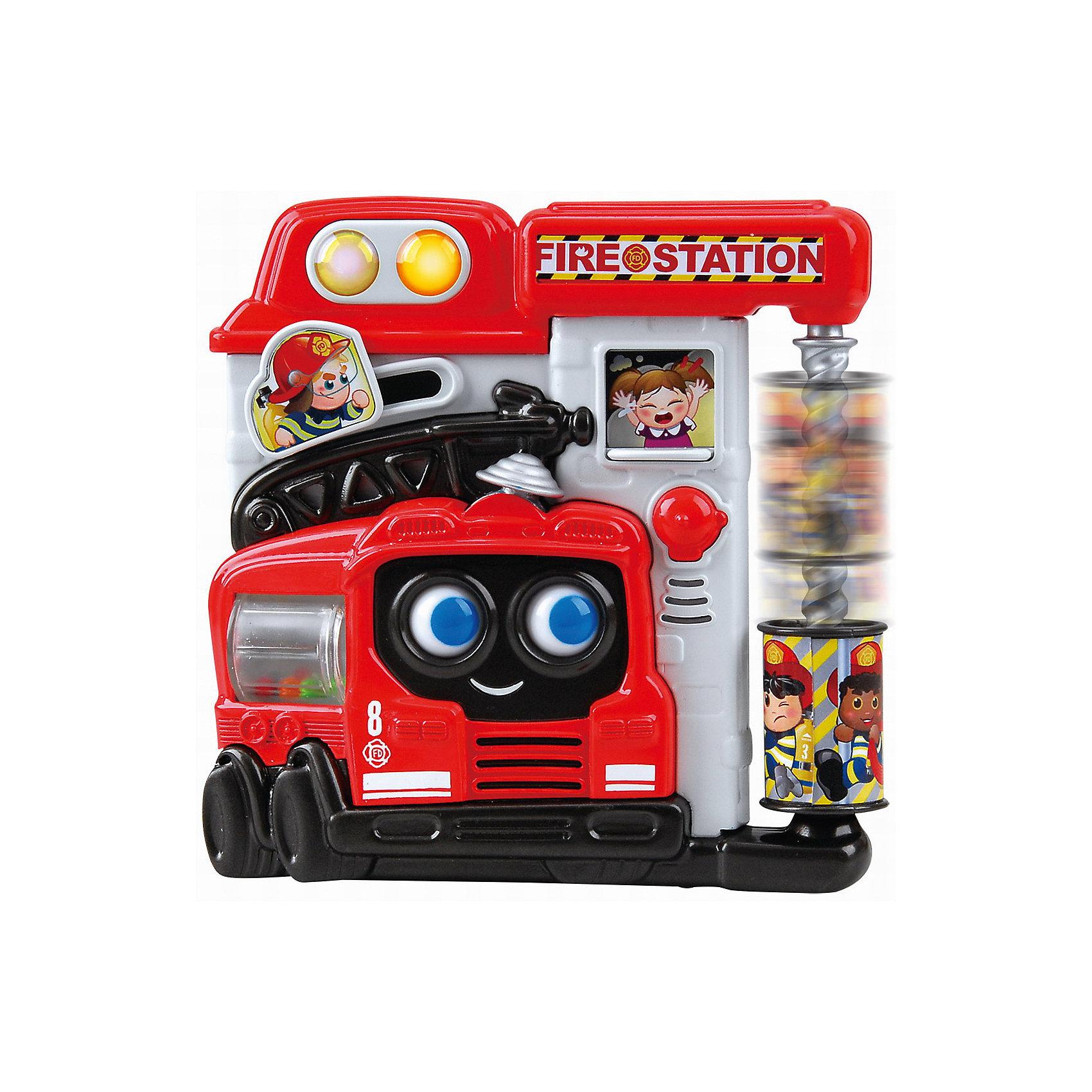 Развивающая игрушка Пожарная станция, PlaygoРазвивающие игрушки<br>Развивающая игрушка Пожарная станция, Playgo<br><br>Характеристики:<br>- Материал: пластик<br>- В комплект входит: игрушка, батарейки 2шт. <br>- Элементы питания: батарейки АА<br>- Размер упаковки: 20 * 5,5 * 21 см.<br>- Вес: 430 гр.<br>Пожарная станция от известного китайского бренда развивающих игрушек для детей Playgo (Плейго) станет прекрасным подарком для крохи. Пожарные, большая пожарная машина и веселая лестница для пожарных научат малыша храбрости и покажут как быть настоящим героем. Барабан с нарисованными пожарными по спирали крутится и спускается вниз, как настоящий пожарный расчёт. Пожарная автоцистерна крутится, а внутри нее цветные шарики. Маленькая девочка в окошке плачет, а если окошко передвинуть, то она будет радоваться, потому что ее уже спасли от пожара. Нажимая на кнопочки можно послушать песенки и услышать разные звуки по теме. Изготовленная из качественного пластика, яркая игрушка поможет развить тактильные ощущения, звуковое восприятие, воображение, световое восприятие и моторику ручек. Небольшой размер позволит брать веселую игрушку на прогулку или в поездку.<br>Развивающую игрушку Пожарная станция, Playgo (Плейго) можно купить в нашем интернет-магазине.<br>Подробнее:<br>• Для детей в возрасте: от 6 до 24 месяцев <br>• Номер товара: 5054059<br>Страна производитель: Китай<br><br>Ширина мм: 210<br>Глубина мм: 200<br>Высота мм: 55<br>Вес г: 430<br>Возраст от месяцев: 6<br>Возраст до месяцев: 24<br>Пол: Унисекс<br>Возраст: Детский<br>SKU: 5054059