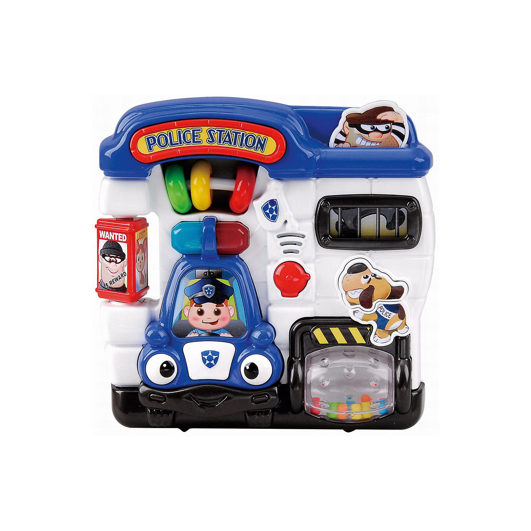 Развивающая игрушка Полицейский участок, PlaygoРазвивающие игрушки<br>Развивающая игрушка Полицейский участок, Playgo<br><br>Характеристики:<br>- Материал: пластик<br>- В комплект входит: игрушка, батарейки 2шт. <br>- Элементы питания: батарейки АА<br>- Размер упаковки: 20 * 5,5 * 21 см.<br>- Вес: 430 гр.<br>Полицейский участок от известного китайского бренда развивающих игрушек для детей Playgo (Плейго) станет прекрасным подарком для крохи. Полицейские, полицейская машина и полицейская собака научат малыша храбрости и покажут как быть настоящим героем. Барабан с нарисованными желтыми полосками крутится, а внутри цветные шарики. Бандита можно посадить в тюрьму, нажав на него. А слева имеется полицейский стенд с объявленными преступниками и пропавшей девочкой. Передвижные колечки в центре понравятся малышу, а нажимая на кнопочки можно послушать песенки и услышать разные звуки по теме. Изготовленная из качественного пластика, яркая игрушка поможет развить тактильные ощущения, звуковое восприятие, воображение, световое восприятие и моторику ручек. Небольшой размер позволит брать веселую игрушку на прогулку или в поездку.<br>Развивающую игрушку Полицейский участок, Playgo (Плейго) можно купить в нашем интернет-магазине.<br>Подробнее:<br>• Для детей в возрасте: от 6 до 24 месяцев <br>• Номер товара: 5054060<br>Страна производитель: Китай<br><br>Ширина мм: 210<br>Глубина мм: 200<br>Высота мм: 55<br>Вес г: 430<br>Возраст от месяцев: 6<br>Возраст до месяцев: 24<br>Пол: Унисекс<br>Возраст: Детский<br>SKU: 5054060