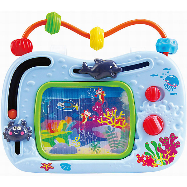 Развивающий центр Телевизор-аквариум, PlaygoРазвивающие центры<br>Развивающий центр Телевизор-аквариум, Playgo<br><br>Характеристики:<br>- Материал: пластик<br>- В комплект входит: игрушка, батарейки 2шт. <br>- Элементы питания: батарейки АА<br><br>Телевизор-аквариум от известного китайского бренда развивающих игрушек для детей Playgo (Плейго) станет прекрасным подарком для крохи. Загляните в морскую пучину вместе с этой интерактивной игрушкой. Движущиеся крабик и дельфинчик приятны на ощупь, а интересный шарик захочется катать снова и снова. Верхняя дуга имеет цветные бусины, которые понравится передвигать. Изготовленная из качественного пластика, яркая игрушка поможет развить тактильные ощущения, звуковое восприятие, воображение, световое восприятие и моторику ручек. Небольшой размер позволит брать веселую игрушку на прогулку или в поездку.<br>Развивающую игрушку Телевизор-аквариум, Playgo (Плейго) можно купить в нашем интернет-магазине.<br>Подробнее:<br>• Для детей в возрасте: от 18 до 36 месяцев <br>• Номер товара: 5054062<br>Страна производитель: Китай<br>Ширина мм: 210; Глубина мм: 220; Высота мм: 70; Вес г: 440; Возраст от месяцев: 12; Возраст до месяцев: 36; Пол: Унисекс; Возраст: Детский; SKU: 5054062;