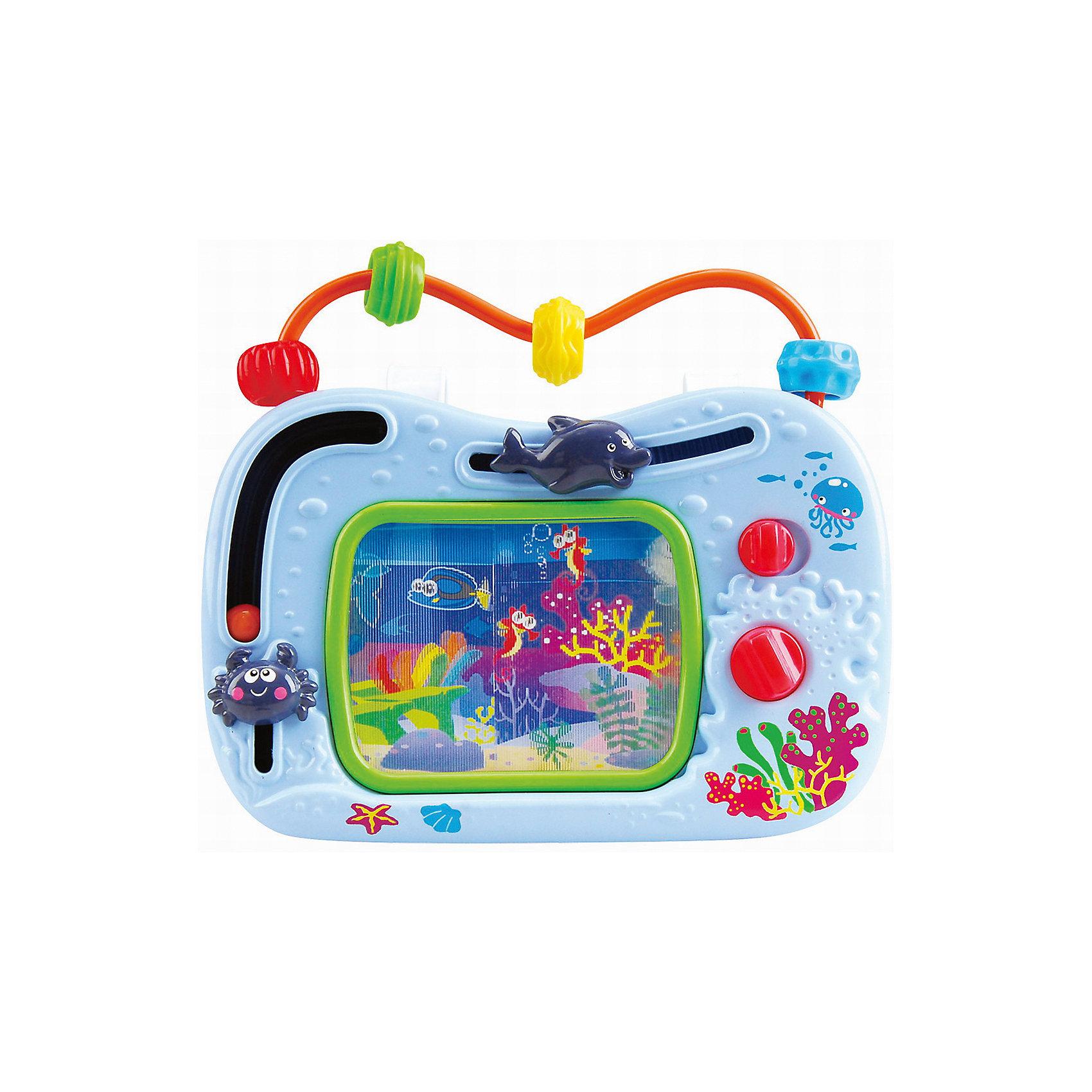 Развивающий центр Телевизор-аквариум, PlaygoИгровые столики и центры<br>Развивающий центр Телевизор-аквариум, Playgo<br><br>Характеристики:<br>- Материал: пластик<br>- В комплект входит: игрушка, батарейки 2шт. <br>- Элементы питания: батарейки АА<br><br>Телевизор-аквариум от известного китайского бренда развивающих игрушек для детей Playgo (Плейго) станет прекрасным подарком для крохи. Загляните в морскую пучину вместе с этой интерактивной игрушкой. Движущиеся крабик и дельфинчик приятны на ощупь, а интересный шарик захочется катать снова и снова. Верхняя дуга имеет цветные бусины, которые понравится передвигать. Изготовленная из качественного пластика, яркая игрушка поможет развить тактильные ощущения, звуковое восприятие, воображение, световое восприятие и моторику ручек. Небольшой размер позволит брать веселую игрушку на прогулку или в поездку.<br>Развивающую игрушку Телевизор-аквариум, Playgo (Плейго) можно купить в нашем интернет-магазине.<br>Подробнее:<br>• Для детей в возрасте: от 18 до 36 месяцев <br>• Номер товара: 5054062<br>Страна производитель: Китай<br><br>Ширина мм: 210<br>Глубина мм: 220<br>Высота мм: 70<br>Вес г: 440<br>Возраст от месяцев: 12<br>Возраст до месяцев: 36<br>Пол: Унисекс<br>Возраст: Детский<br>SKU: 5054062