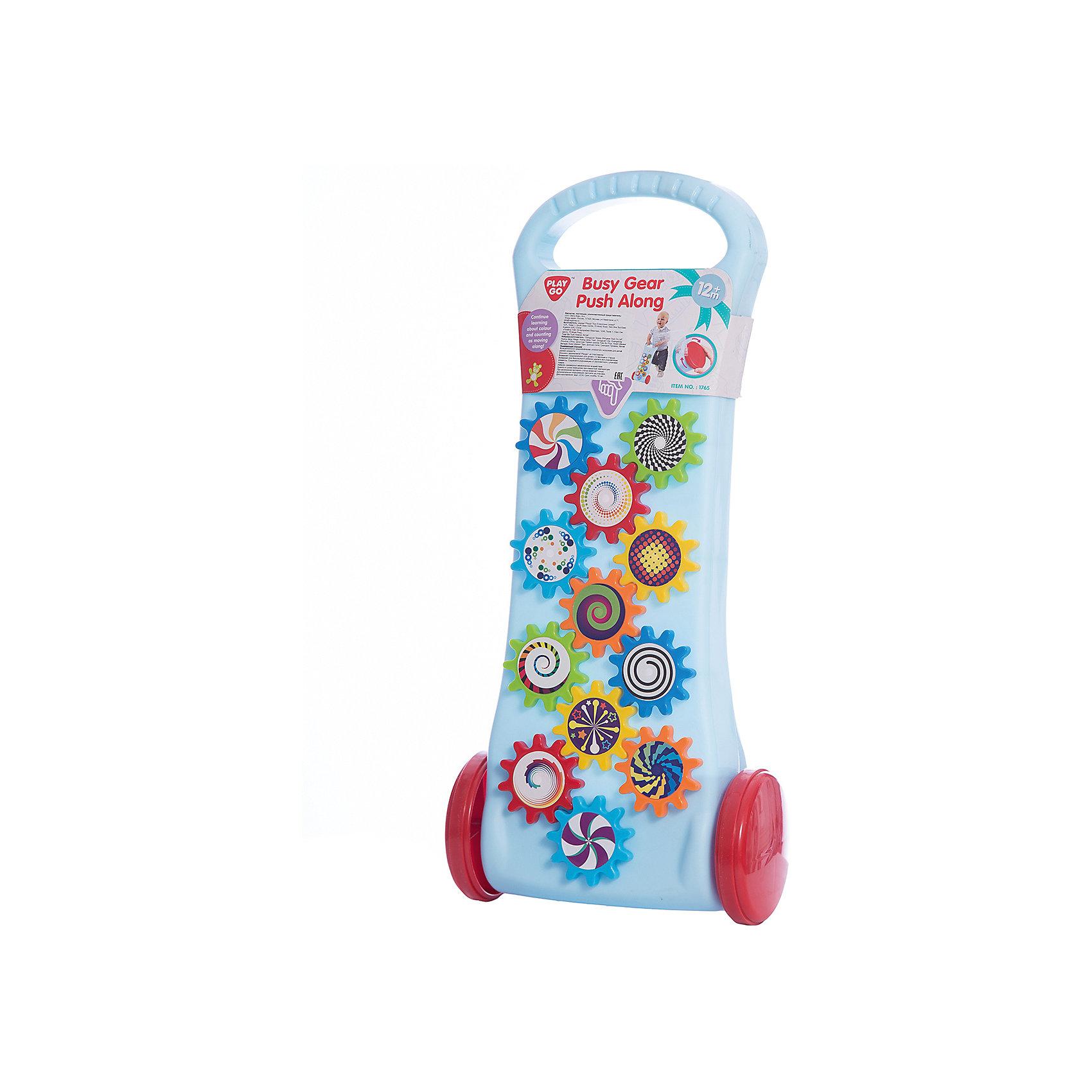Каталка с шестеренками, PlaygoИгрушки-каталки<br>Каталка с шестеренками, Playgo<br><br>Характеристики:<br>- Материал: пластик<br>- В комплект входит: 1 каталка<br>- Размер: 48 * 24 * 10 см. <br>Яркая каталка с шестеренками от известного китайского бренда развивающих игрушек для детей Playgo (Плейго) станет прекрасным подарком для крохи. Чтобы двенадцать цветных шестеренок задвигались ребенку нужно подвигать каталку. Нежный голубой цвет отлично сочетается с этими цветными детальками и придет по вкусу малышу. Наблюдая за работой шестеренок ребенок сможет развить логическое мышление, а катая игрушку развить координацию движения и крупную моторику. А играть с такой каталкой на улице еще веселее.<br>Каталку с шестеренками, Playgo (Плейго) можно купить в нашем интернет-магазине.<br>Подробнее:<br>• Для детей в возрасте: от 9 месяцев до 3 лет <br>• Номер товара: 5054064<br>Страна производитель: Китай<br><br>Ширина мм: 460<br>Глубина мм: 120<br>Высота мм: 230<br>Вес г: 590<br>Возраст от месяцев: 12<br>Возраст до месяцев: 36<br>Пол: Унисекс<br>Возраст: Детский<br>SKU: 5054064